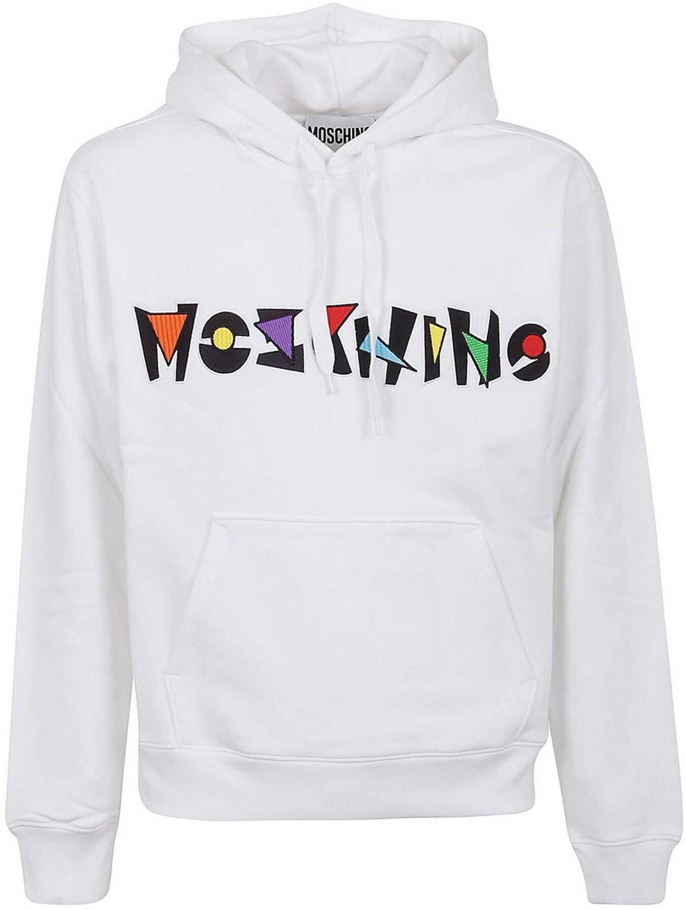 Moschino Geometric Logo Hoodie In White White imagine