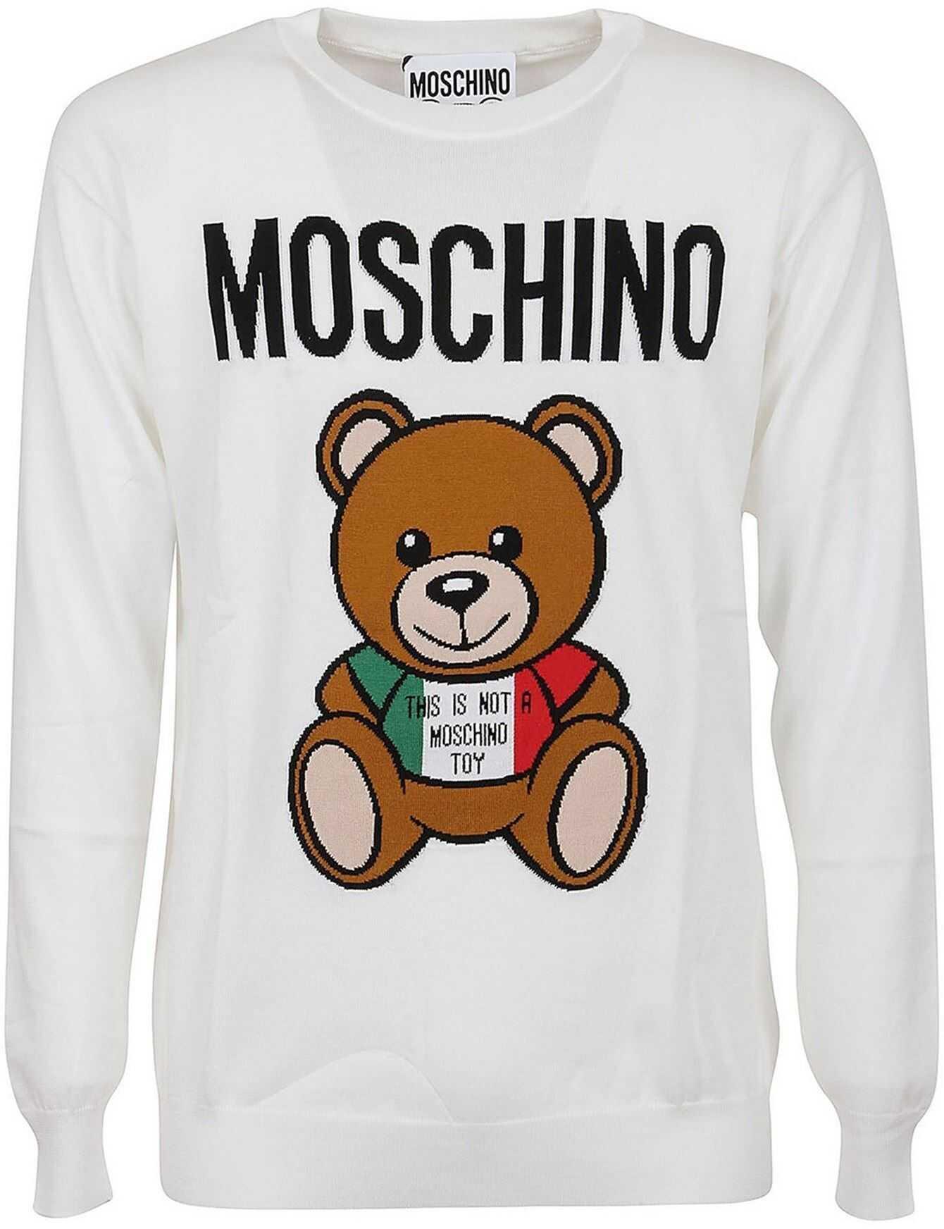 Moschino Italian Teddy Cotton Jumper In White White imagine