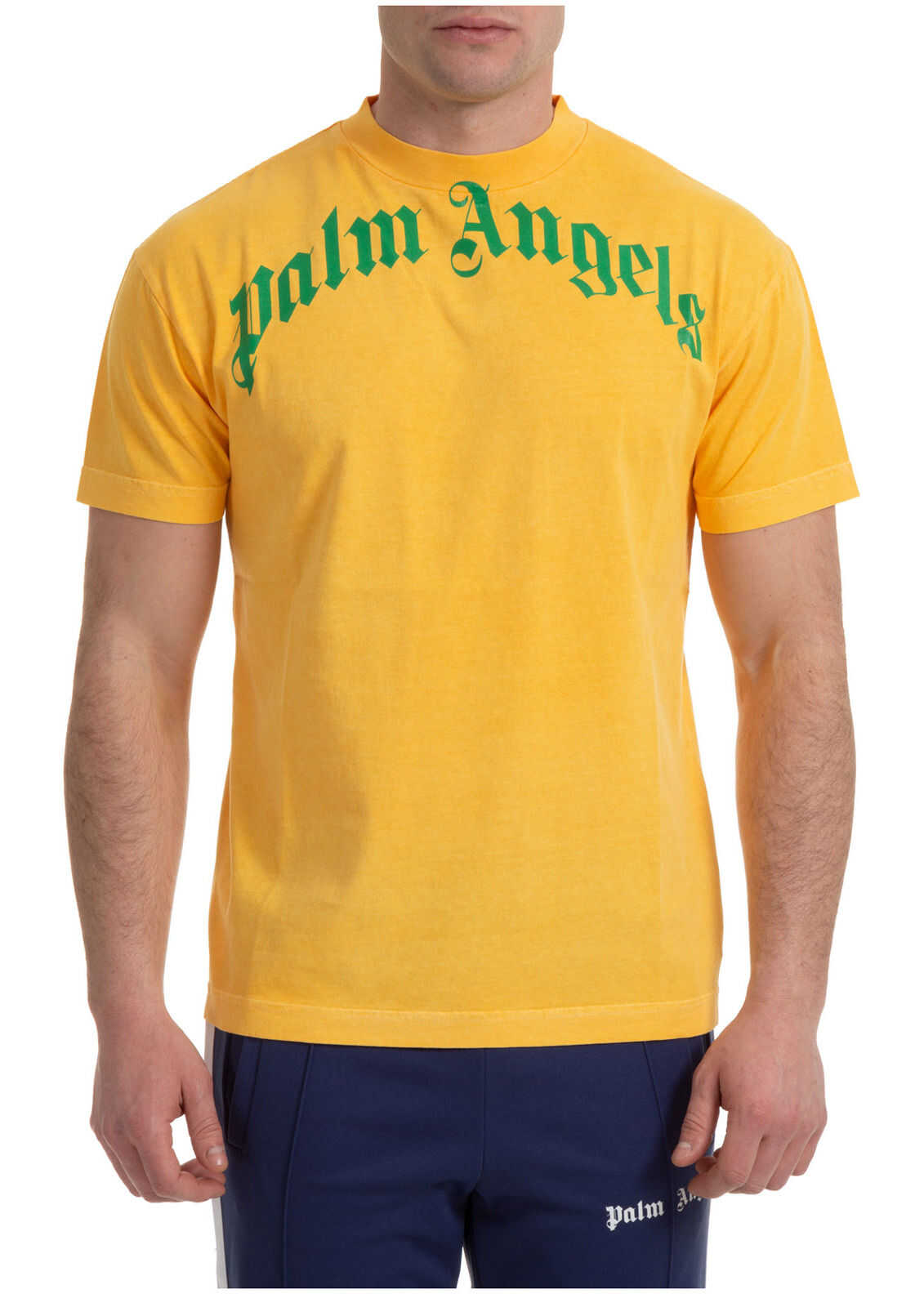 Palm Angels Curved Logo Yellow imagine