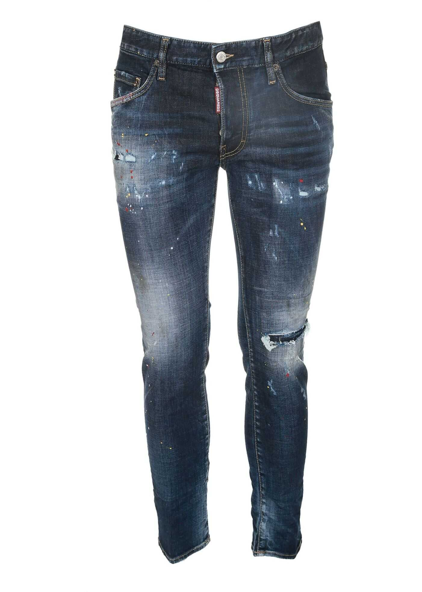 DSQUARED2 Skater Jeans In Blue With Spots Blue imagine