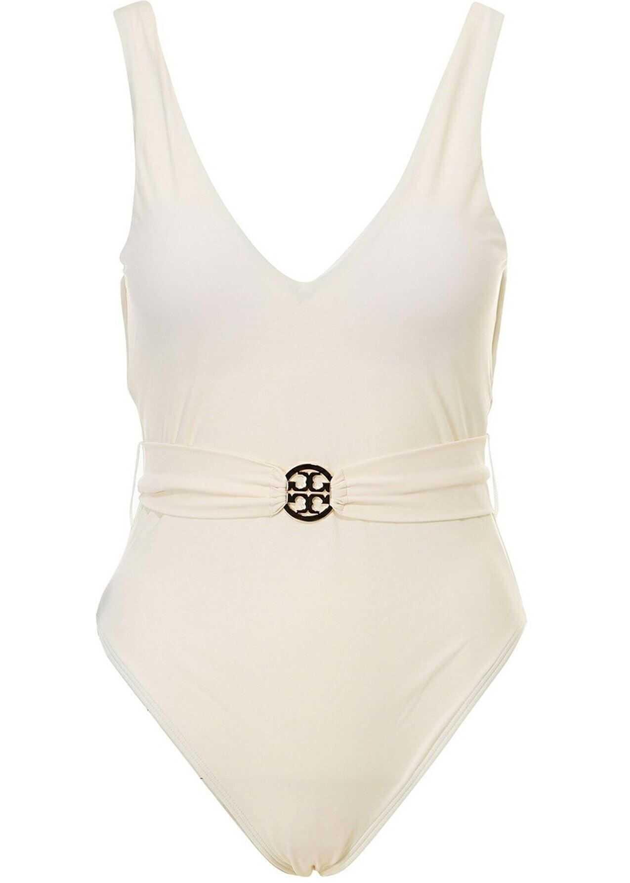 Tory Burch Belted One-Piece Swimsuit In Beige Beige