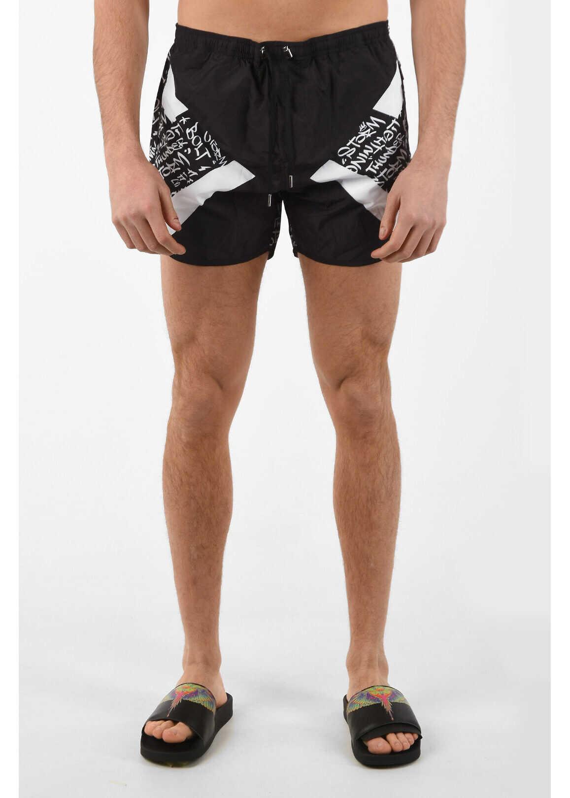 Neil Barrett Printed MODERNIST GRAFFITI Swim Shorts BLACK imagine