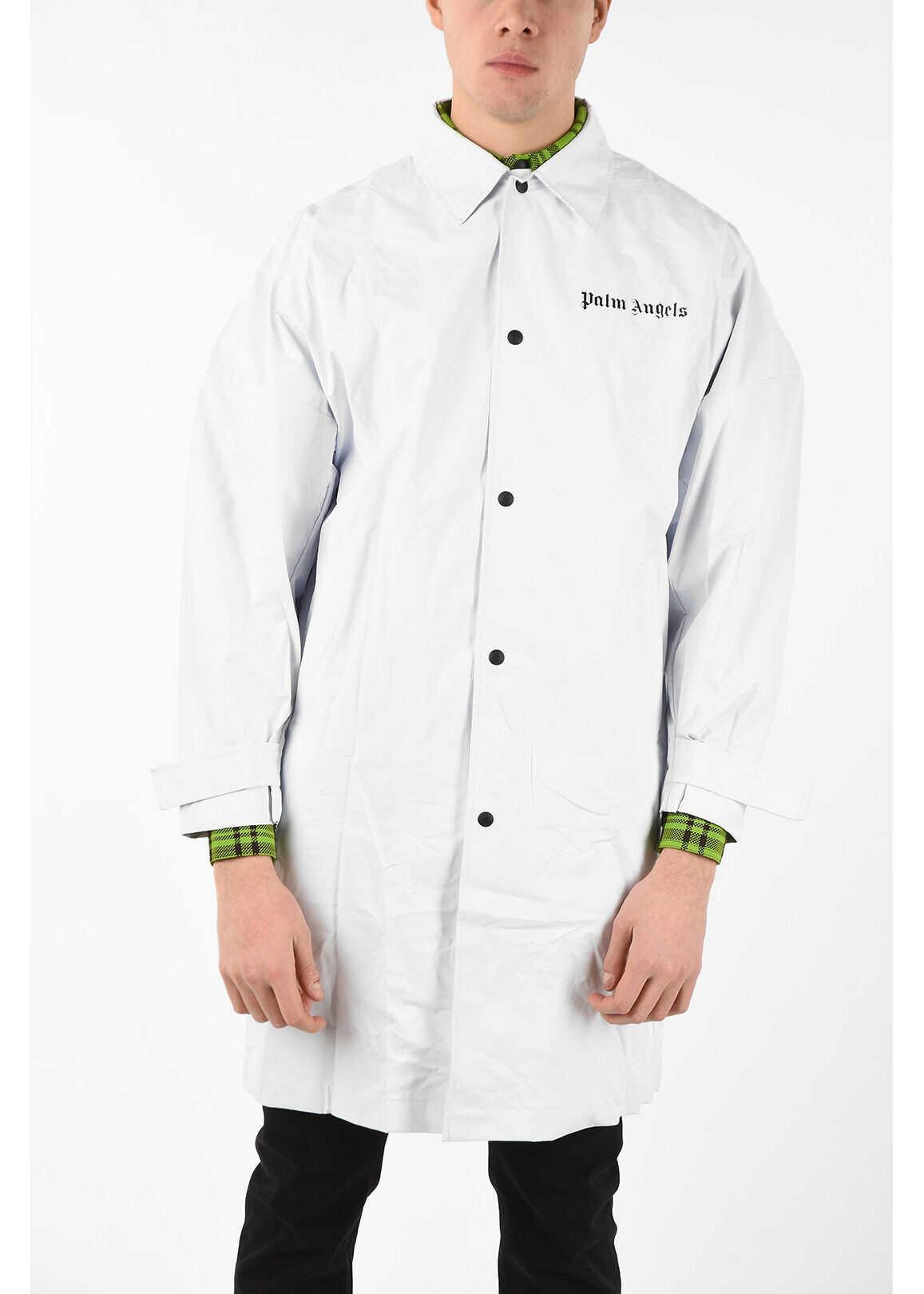 Palm Angels Printed Oversized Raincoat WHITE imagine