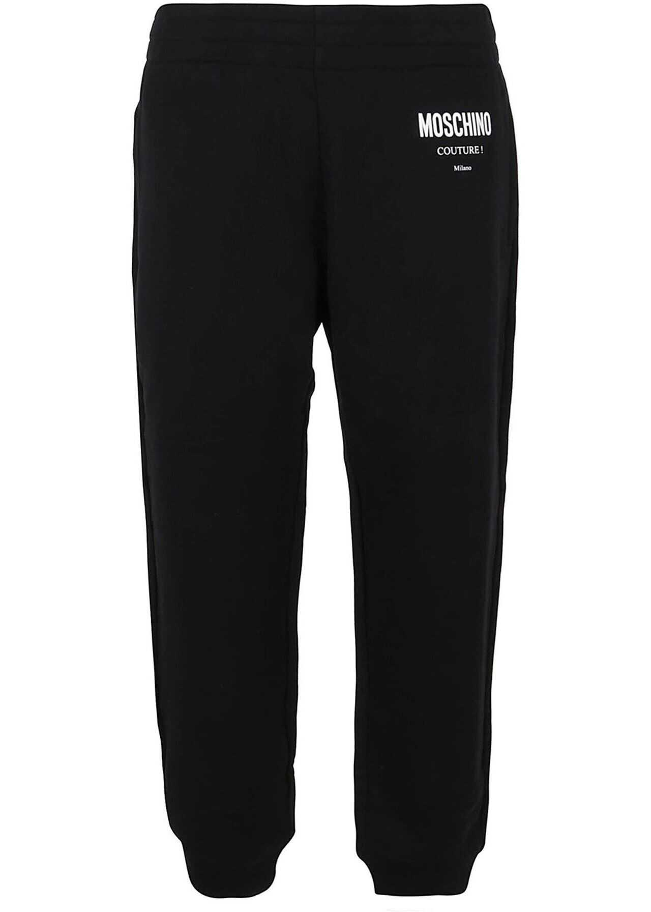 Moschino Cotton Tracksuit Bottoms In Black Black imagine