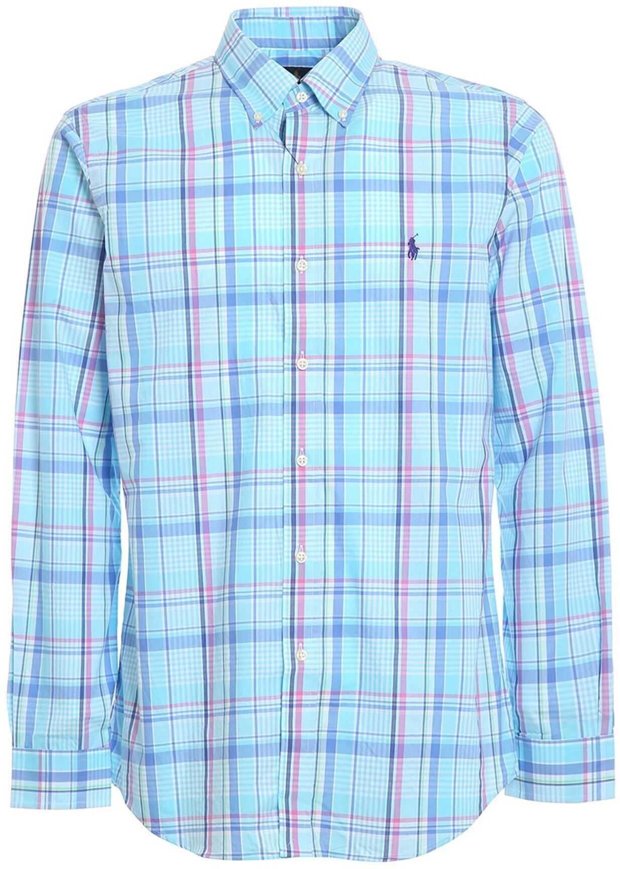 Ralph Lauren Tartan Printed Poplin Shirt Light Blue imagine
