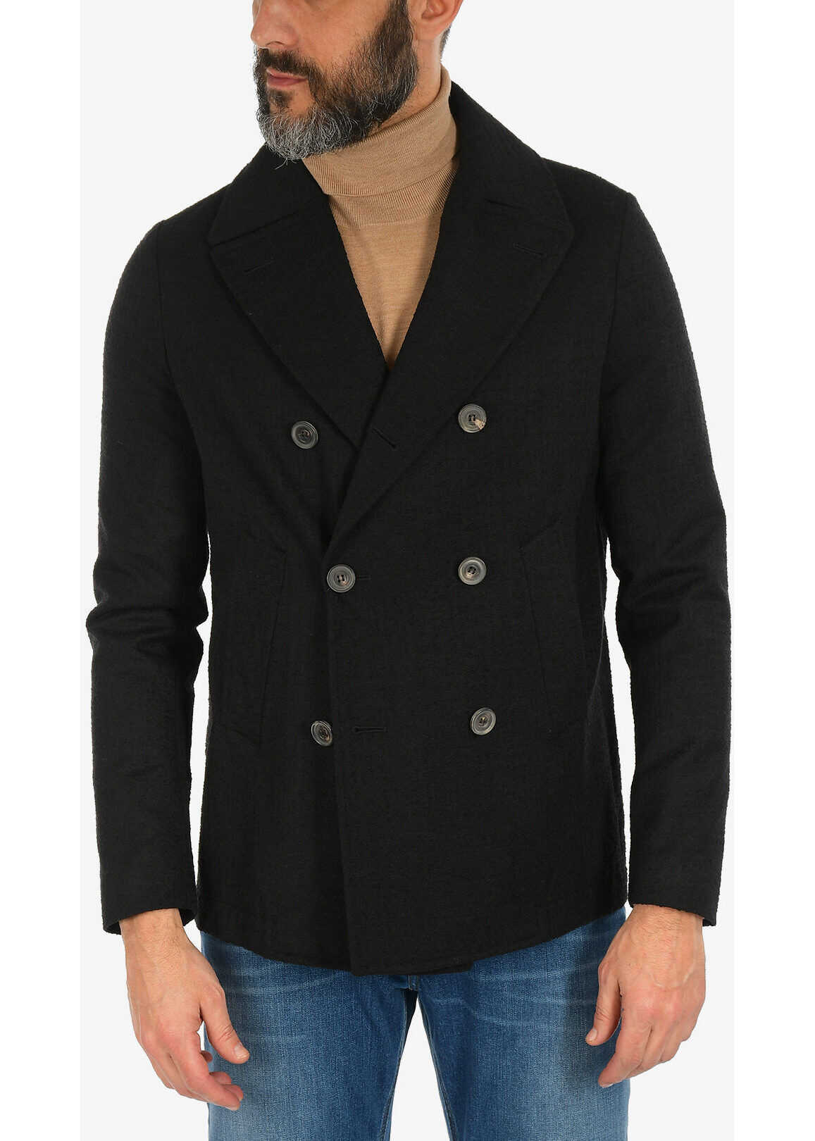 CORNELIANI double breasted Chesterfield coat BLACK imagine