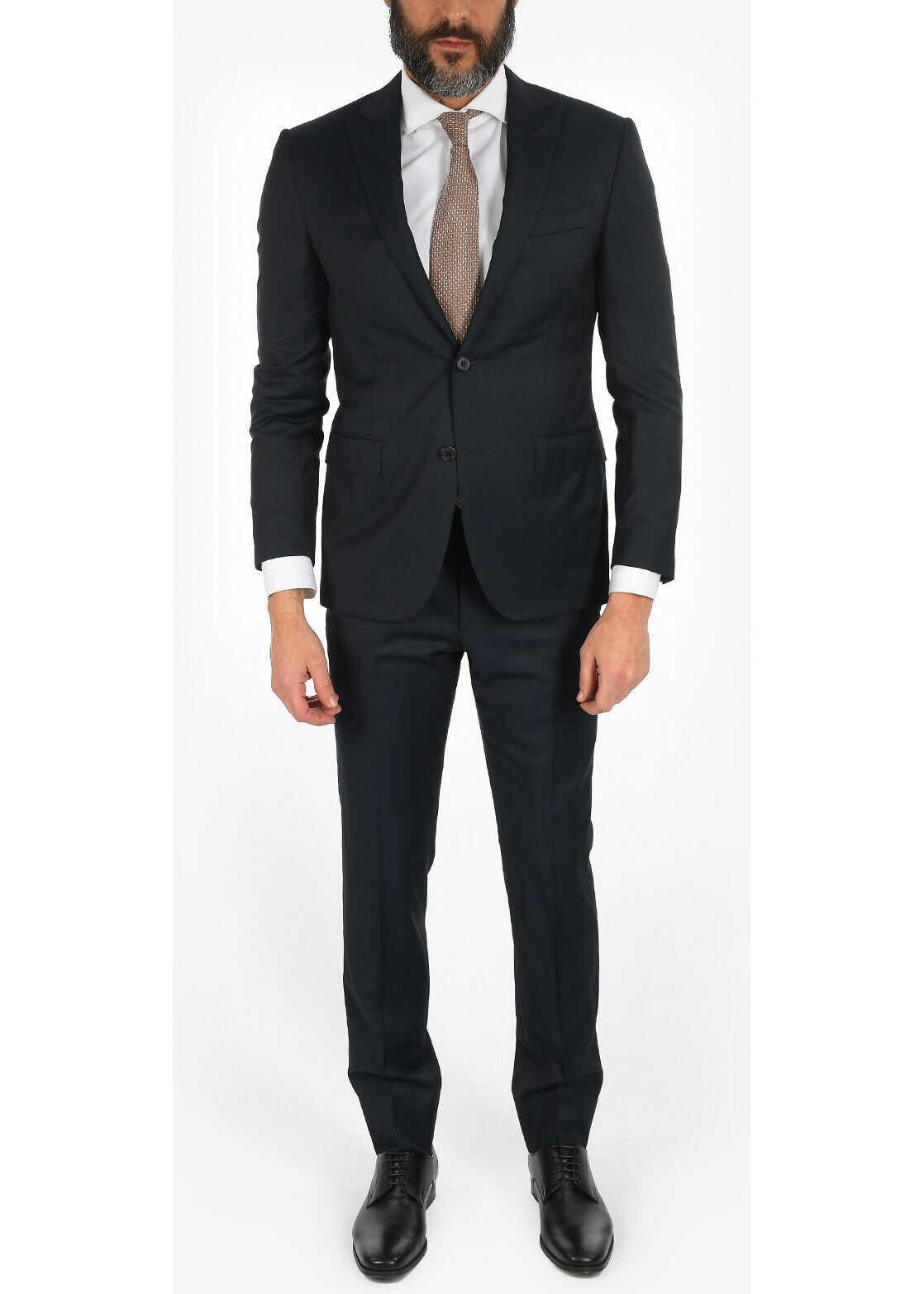 CORNELIANI ACADEMY virgin wool 2-button suit BLUE imagine