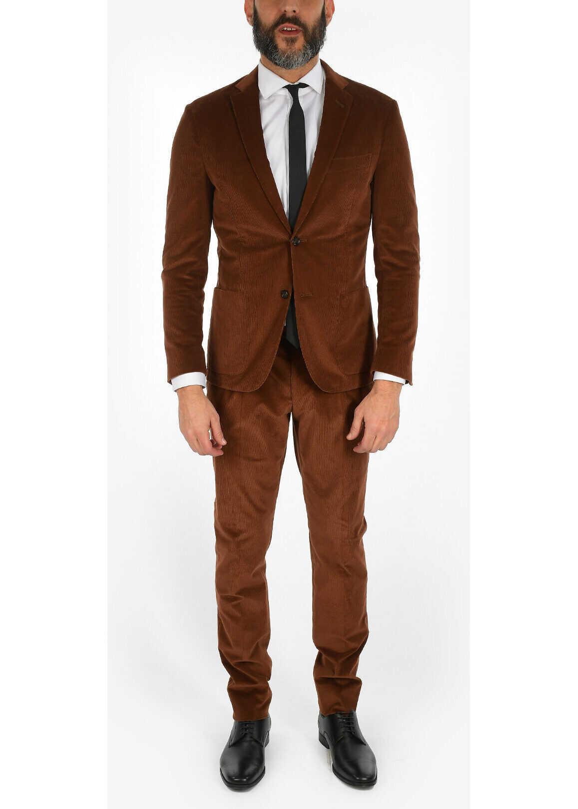 CORNELIANI corduroy GATE drop 7R 2-button suit BROWN imagine