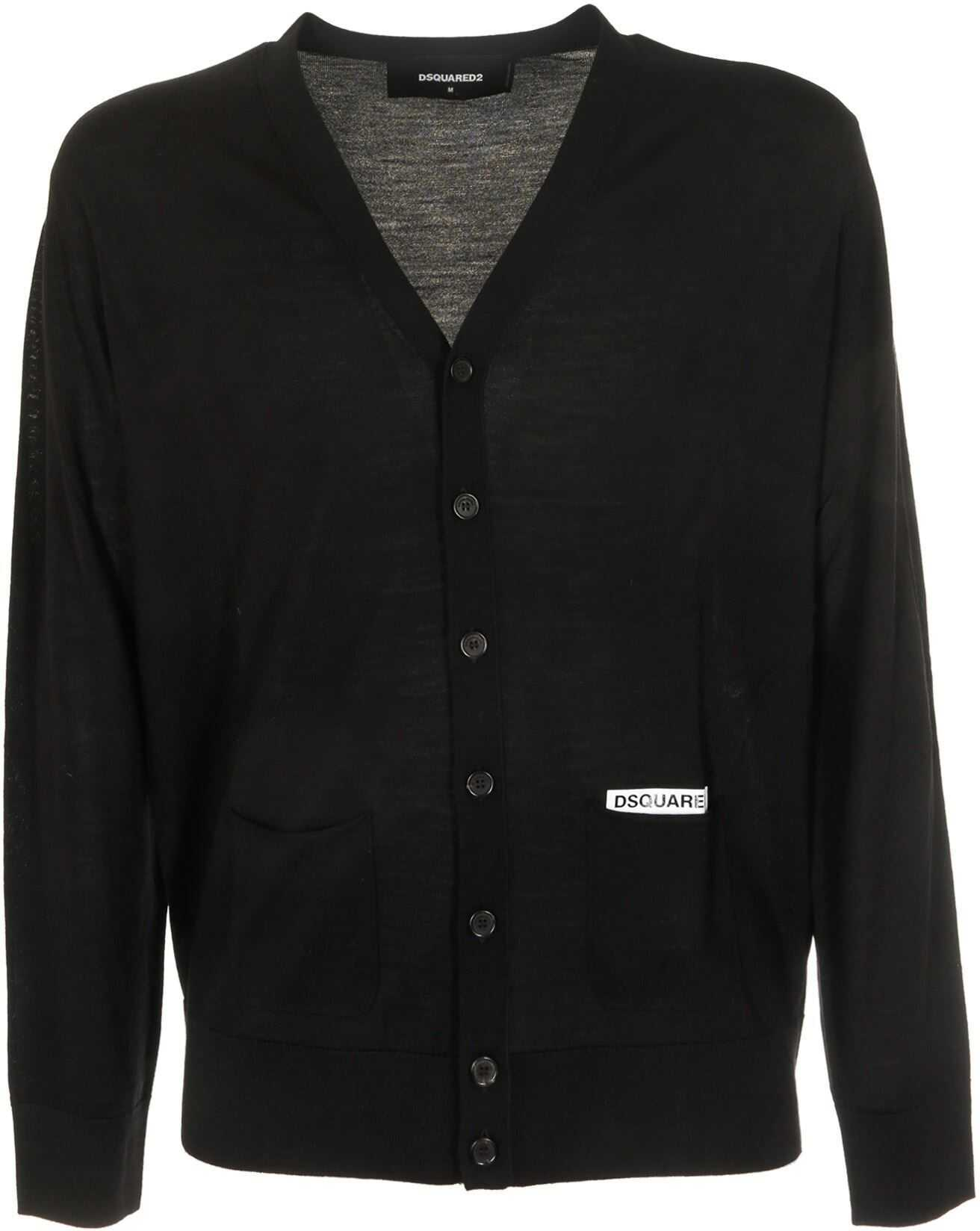 DSQUARED2 Cardigan In Black With Pockets Black imagine