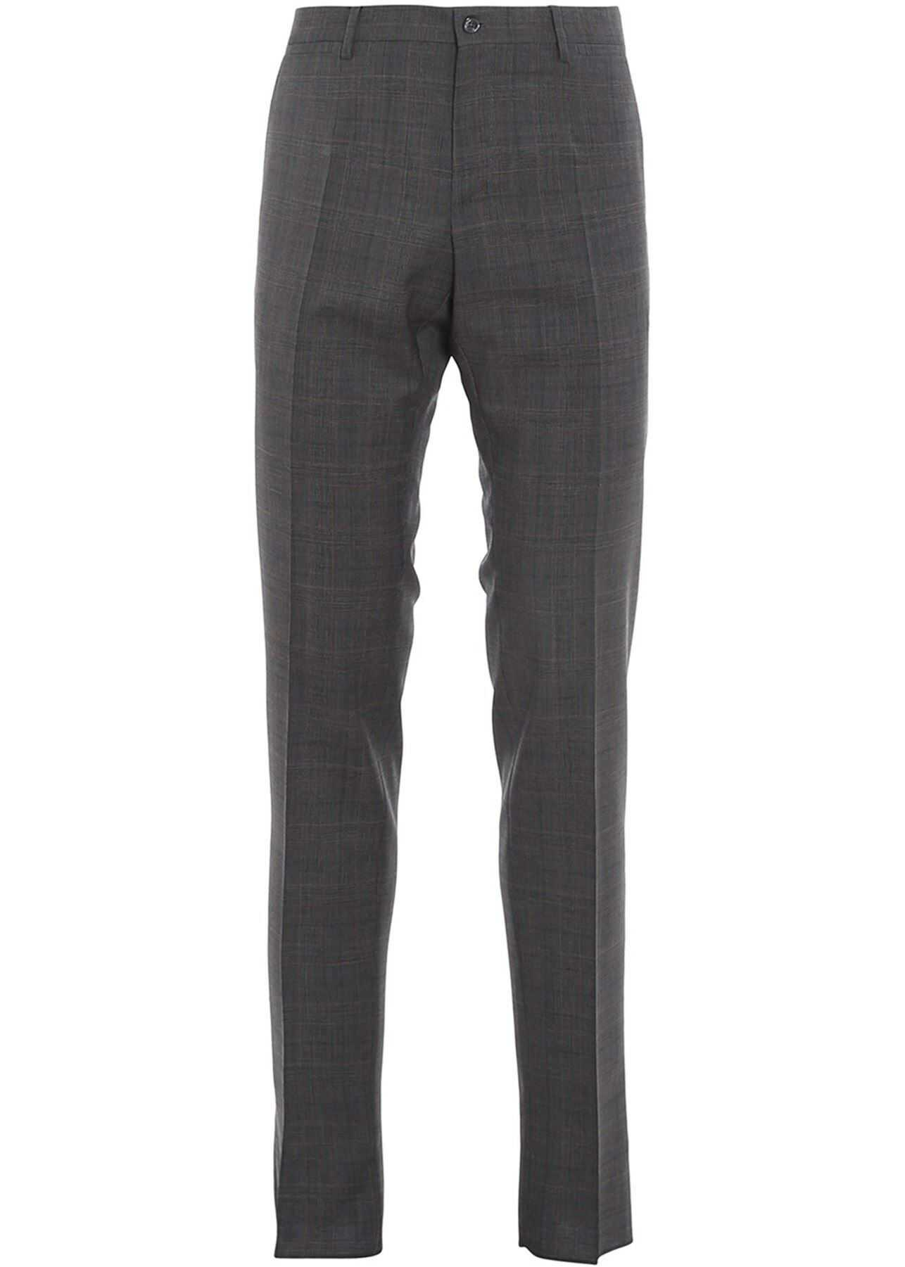 Dolce & Gabbana Prince Of Wales Wool Trousers In Grey Grey imagine