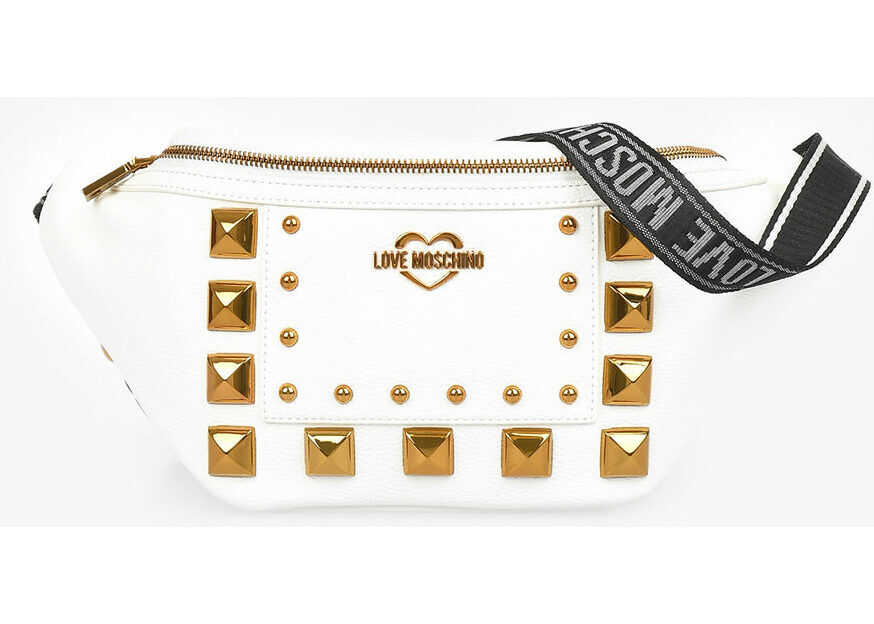 Moschino LOVE Faux Leather Studded SQUARE Fanny Pack WHITE imagine b-mall.ro