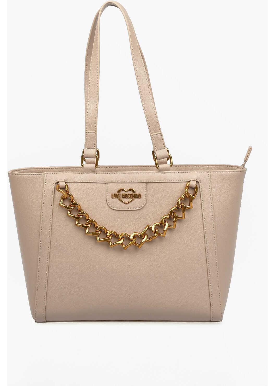 Moschino LOVE Faux Leather NEW CHAIN HEART Tote Bag BEIGE imagine b-mall.ro