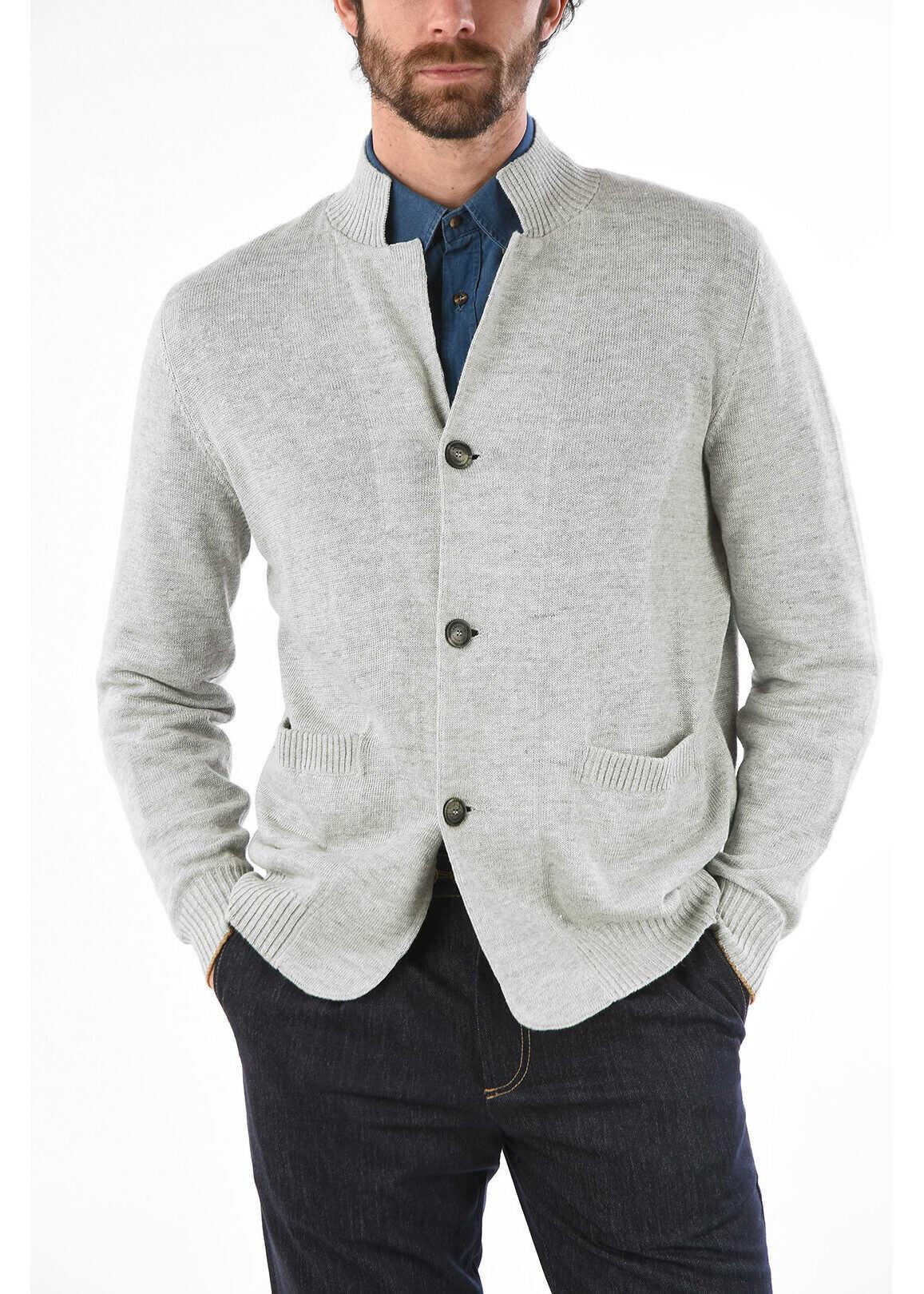 Brunello Cucinelli Linen and Cotton 3-Button Cardigan GRAY imagine
