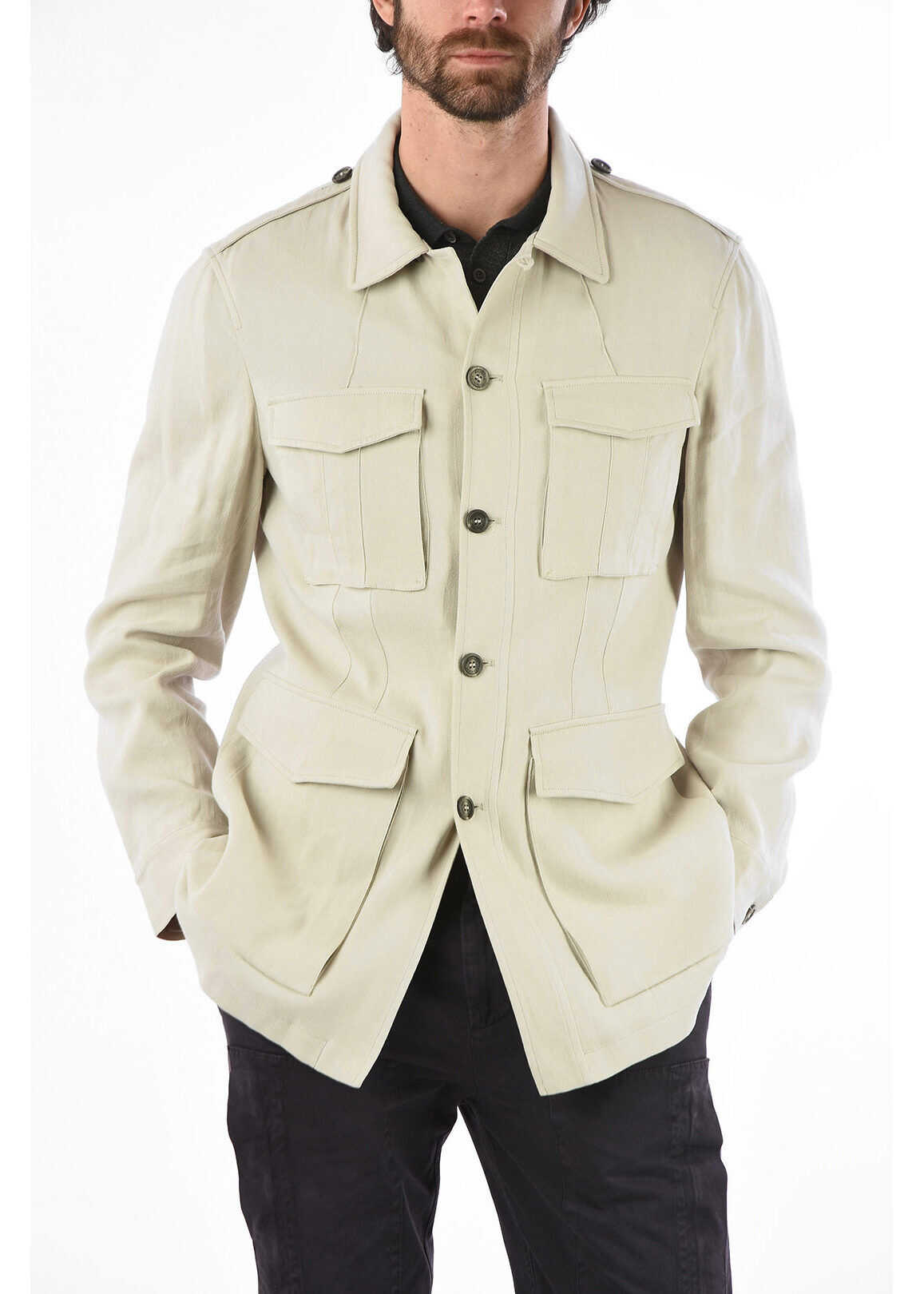 Brunello Cucinelli Multi-Pocket Jacket with Button Closure BEIGE imagine