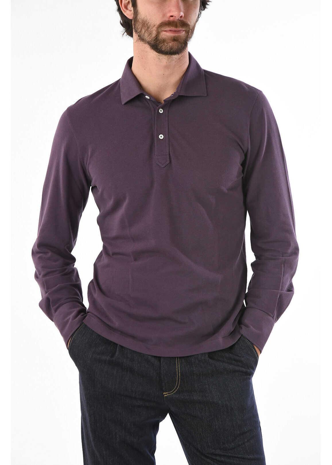 Brunello Cucinelli Cotton Long Sleeve SLIM FIT Polo Shirt VIOLET imagine