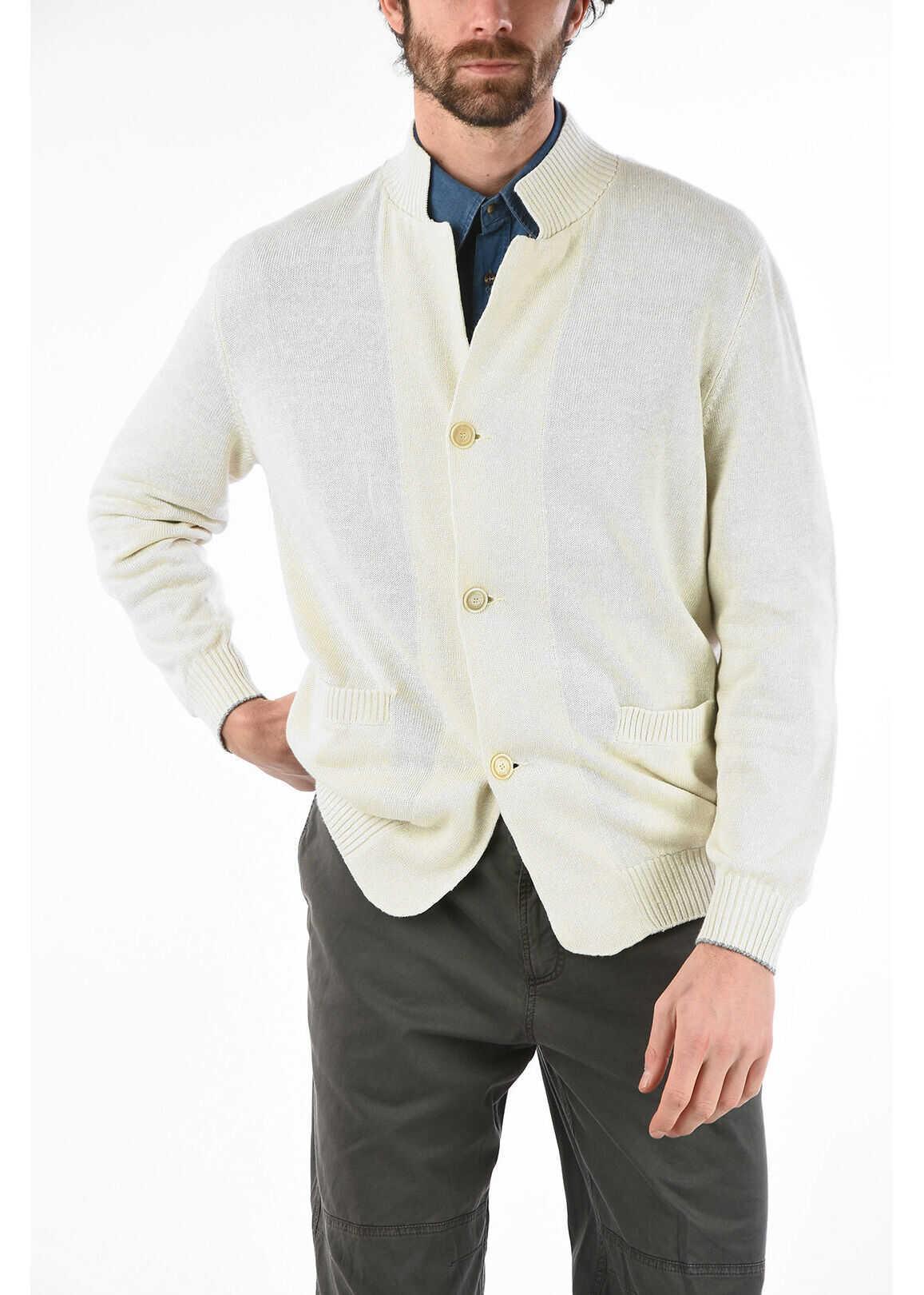 Brunello Cucinelli Linen and Cotton 3-Button Cardigan WHITE imagine