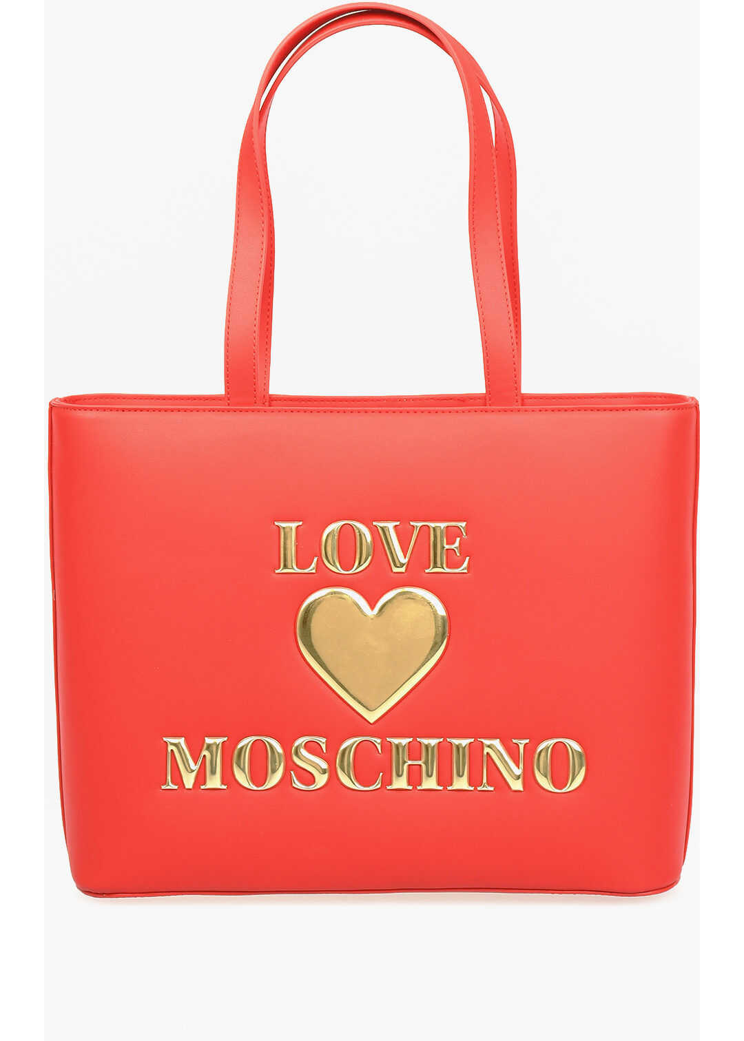 Moschino LOVE Faux Leather PADDED SHINY HEART Bag RED imagine b-mall.ro
