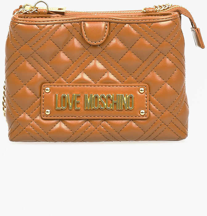 Moschino LOVE Quilted NEW SHINY Pochette BROWN imagine b-mall.ro