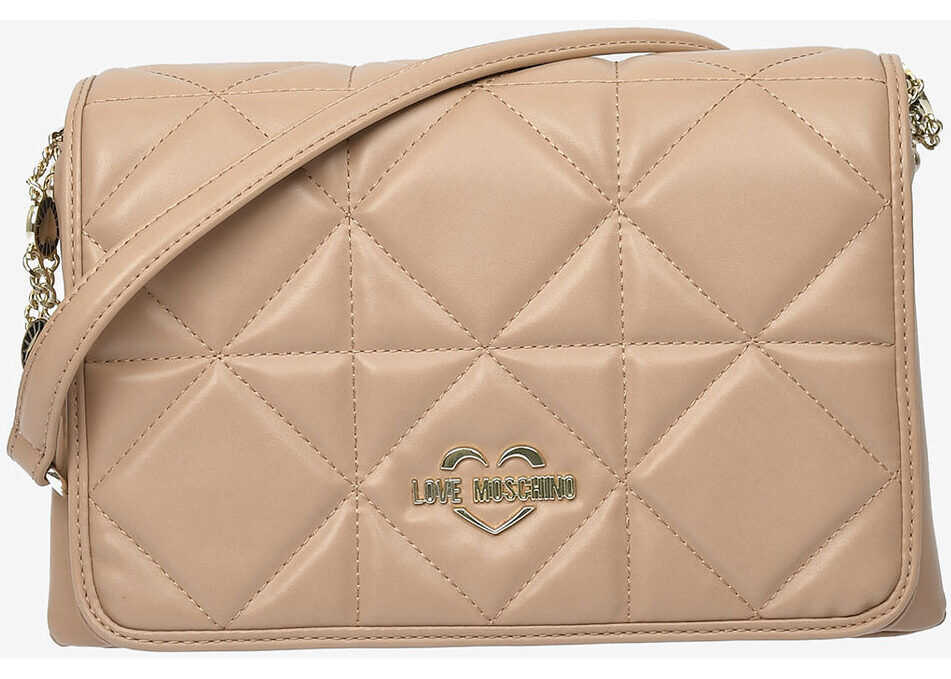 Moschino LOVE Faux Quilted Leather JEWEL Bag BEIGE imagine b-mall.ro