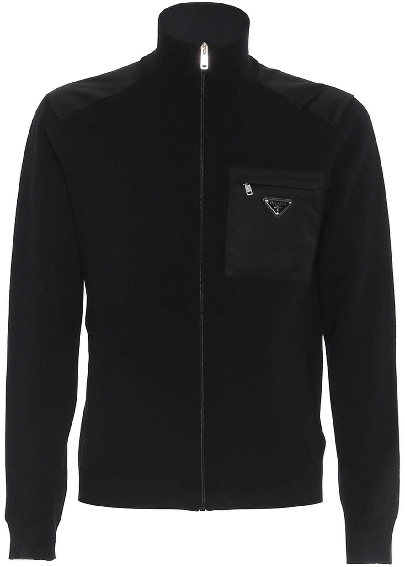 Prada Zipped Wool Cardigan In Black Black imagine