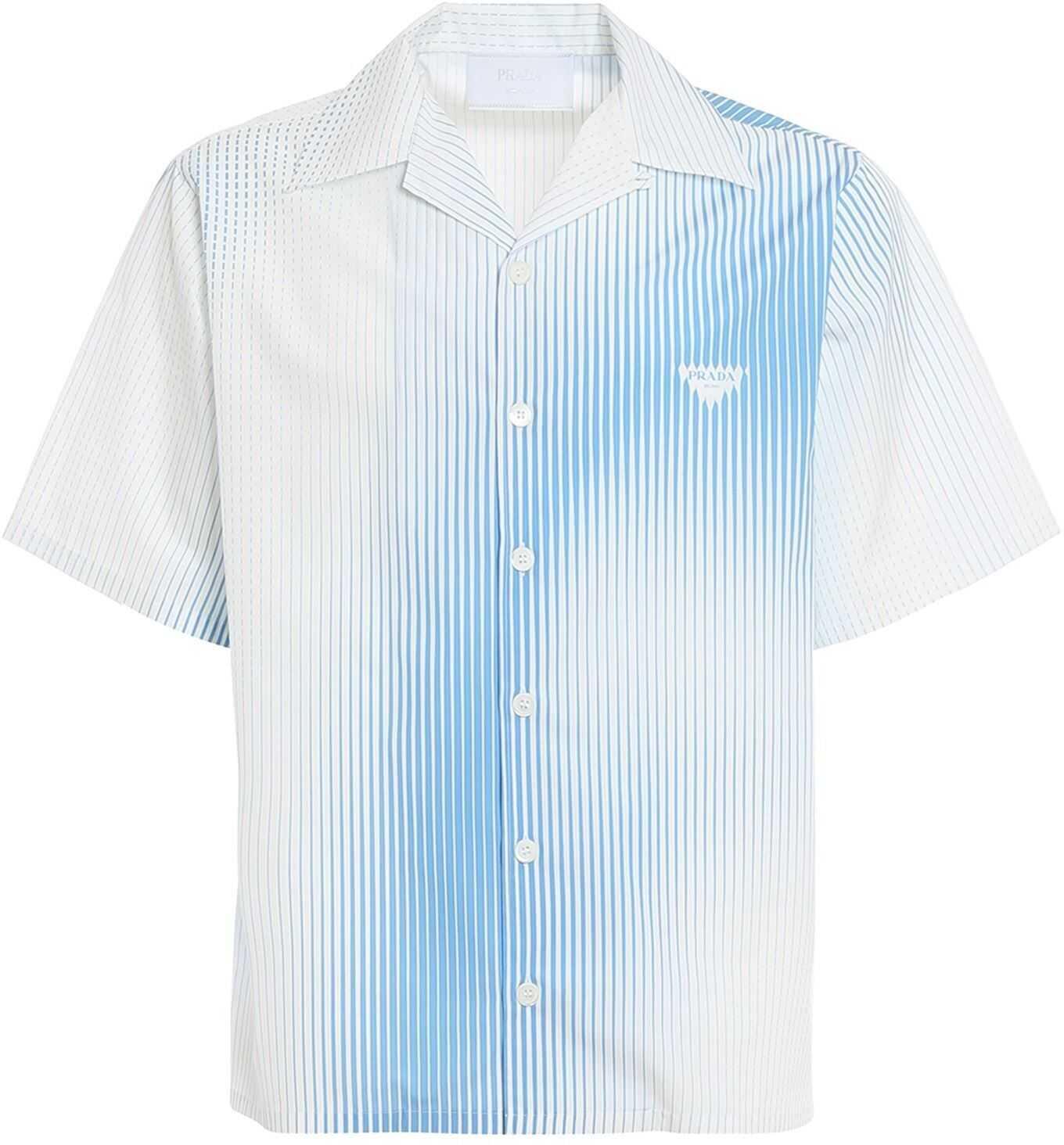 Prada Digital Stripe Print Shirt White imagine