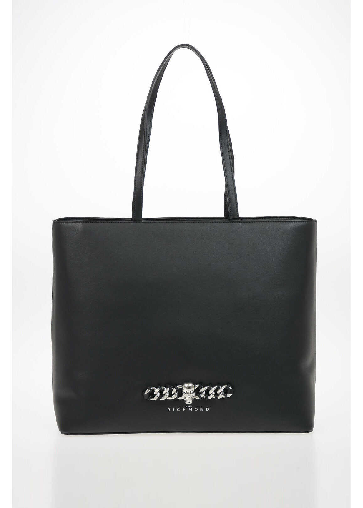John Richmond Faux Leather APPER Tote Bag BLACK imagine b-mall.ro