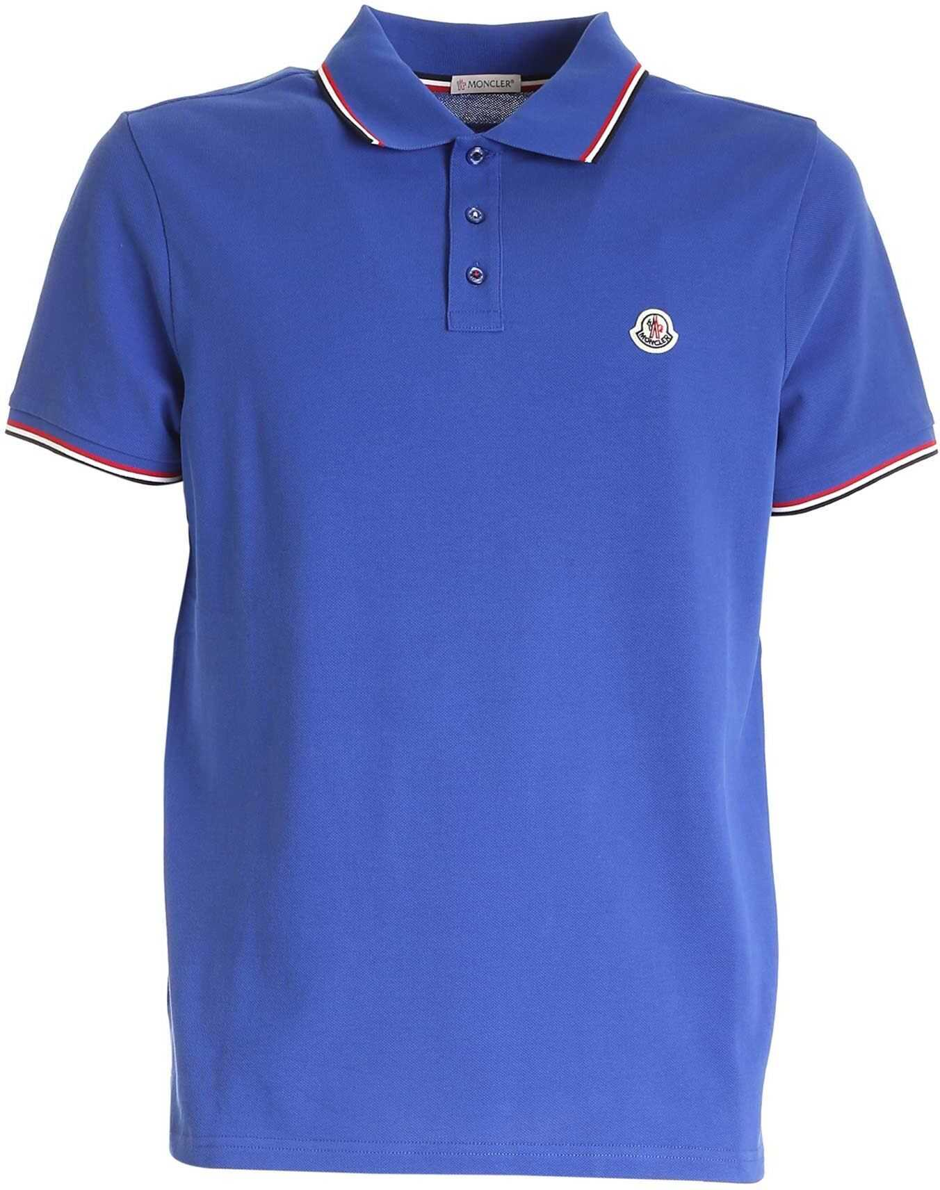 Moncler Logo Patch Polo Shirt In Blue Blue imagine