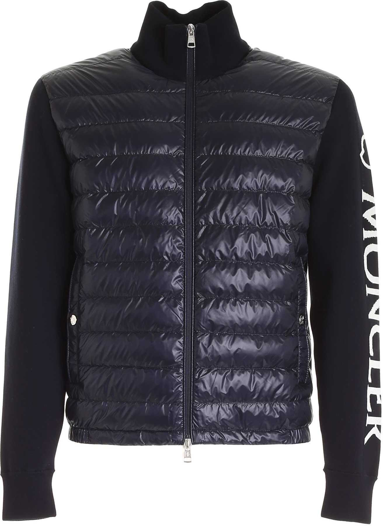 Moncler Grenoble Padded Tricot Cardigan In Blue Blue imagine