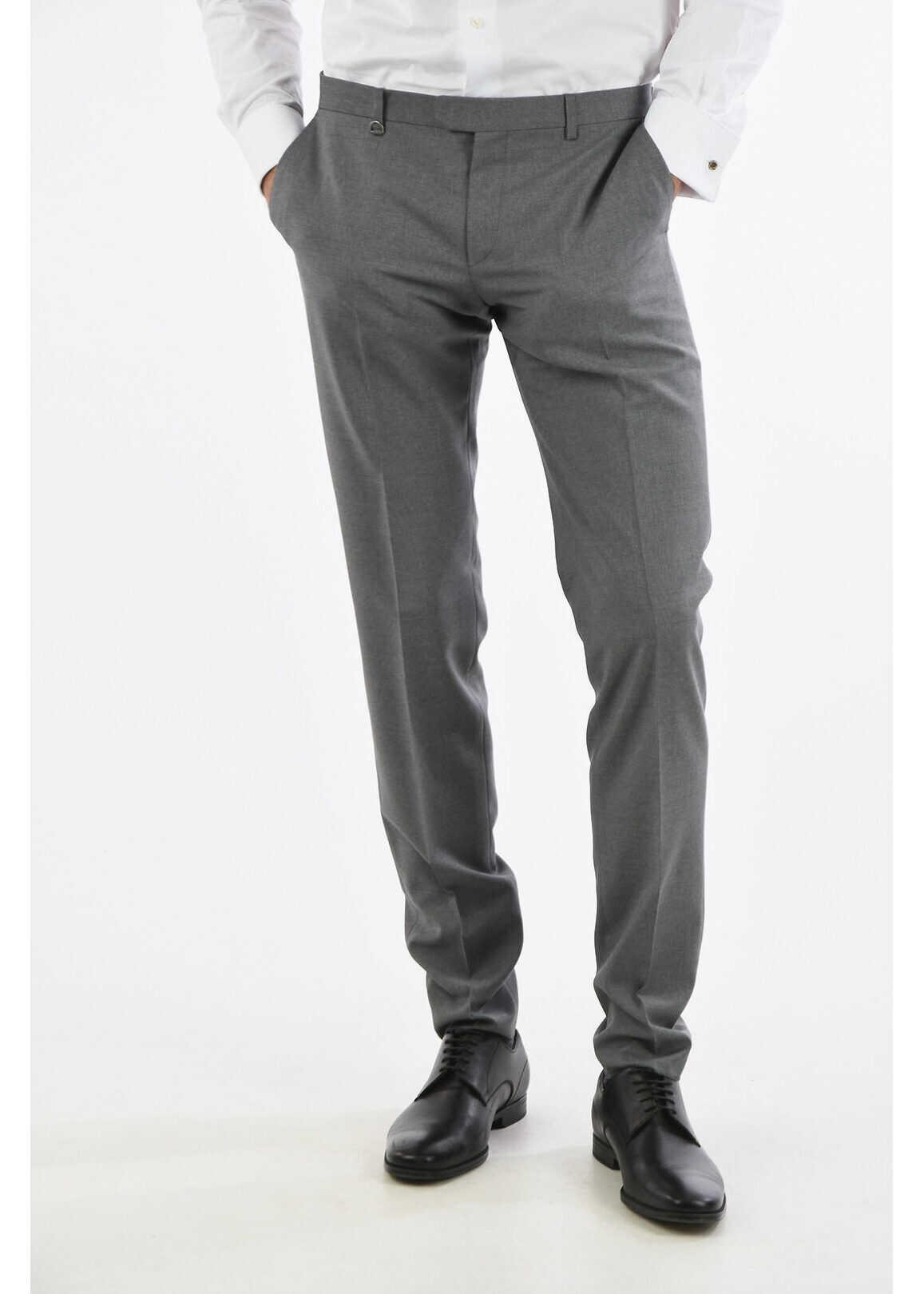 Ermenegildo Zegna ZZEGNA Wool Pants with Belt Loops and Hook Closure GRAY imagine