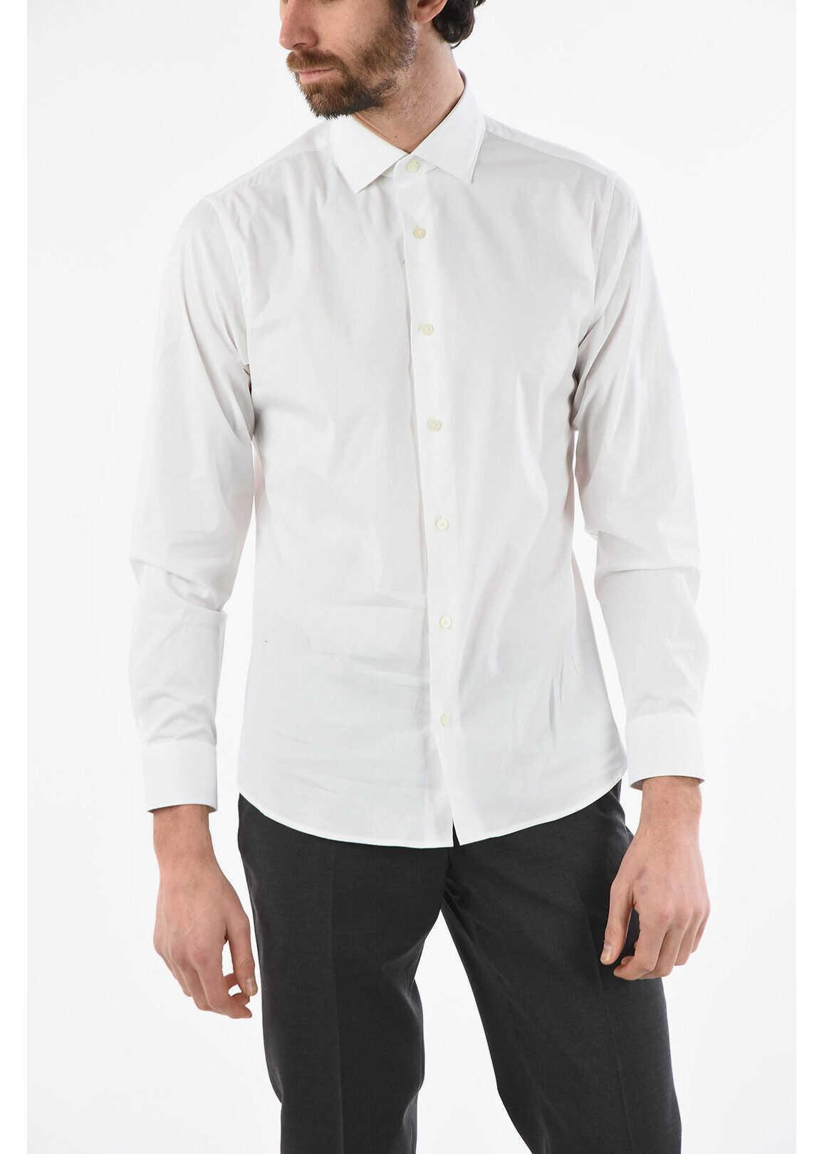 Ermenegildo Zegna ZZEGNA Stretchy Cotton Slim Fit Shirt WHITE imagine
