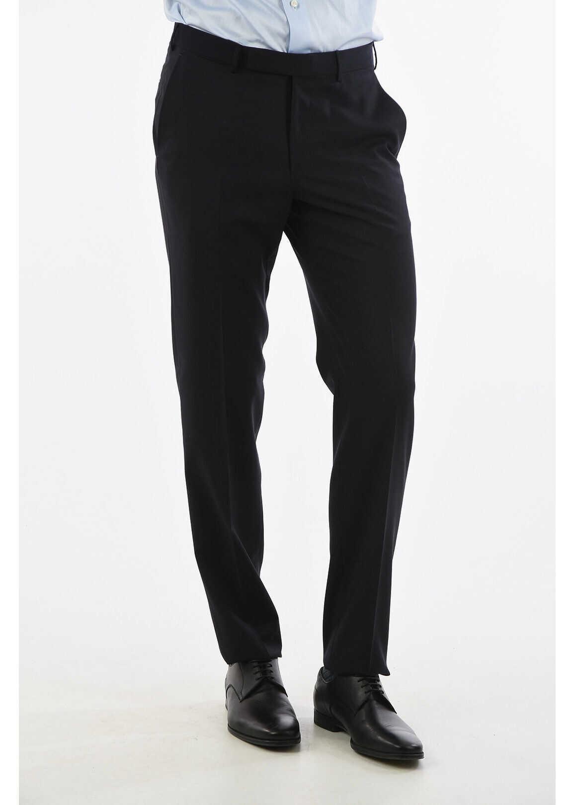 Ermenegildo Zegna EZ TAILORING Wool Regular Fit Pants with Belt Loops BLUE imagine