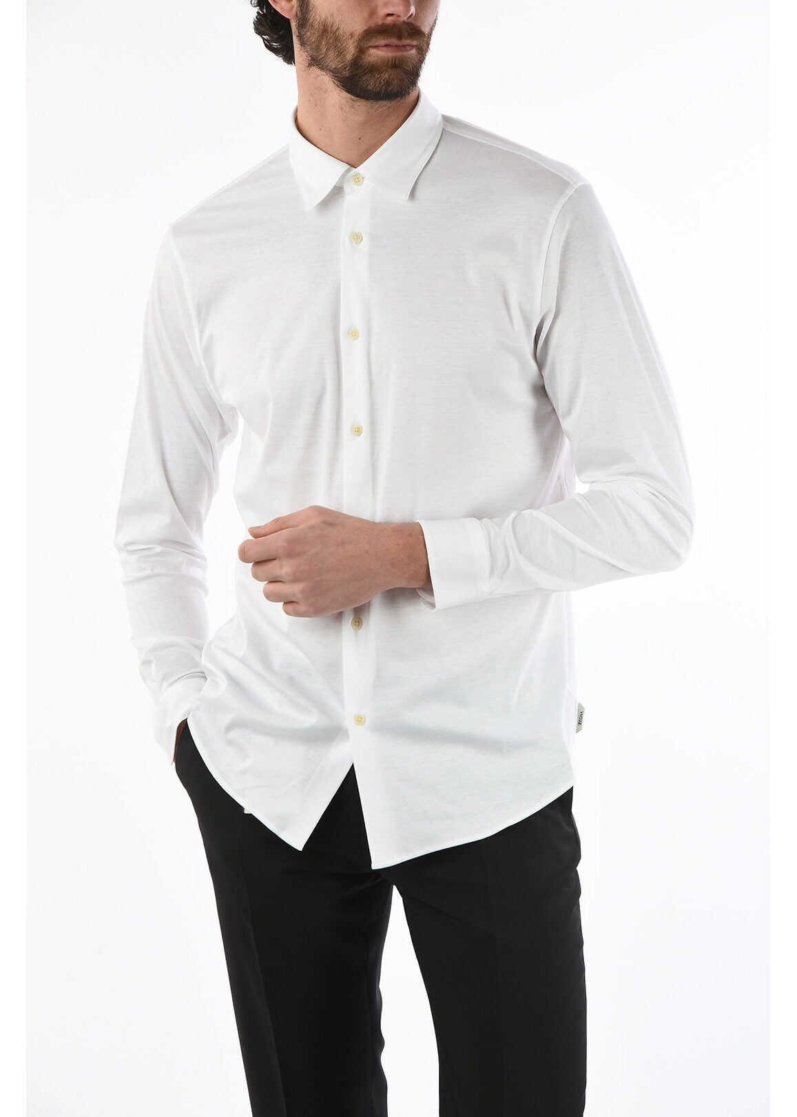 Ermenegildo Zegna ZZEGNA Spread Collar Shirt WHITE imagine