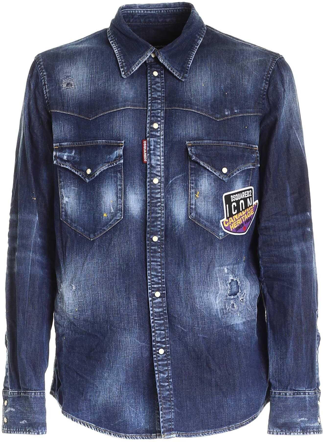 DSQUARED2 Denim Shirt In Blue Blue imagine