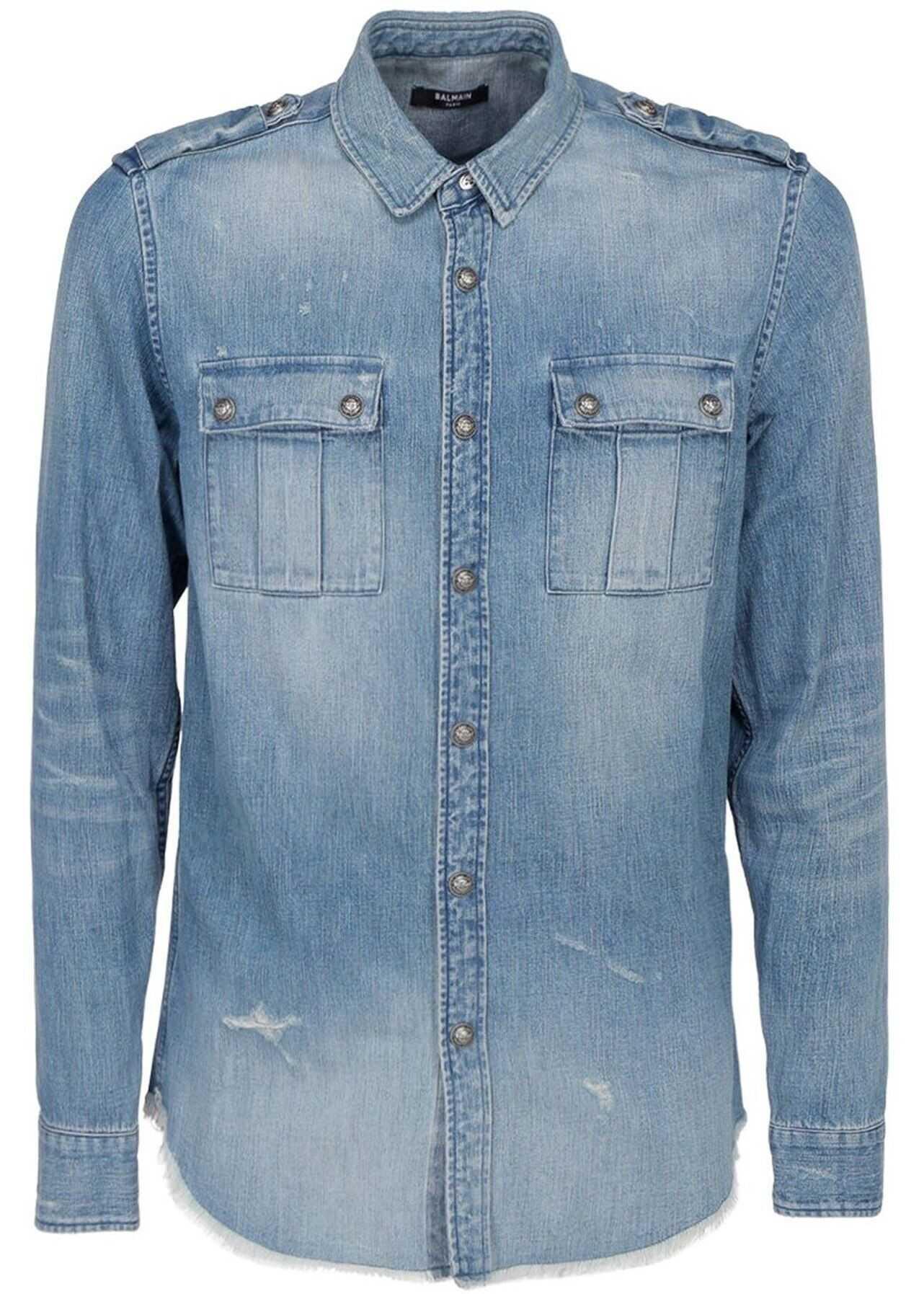 Balmain Denim Shirt In Light Blue Light Blue imagine
