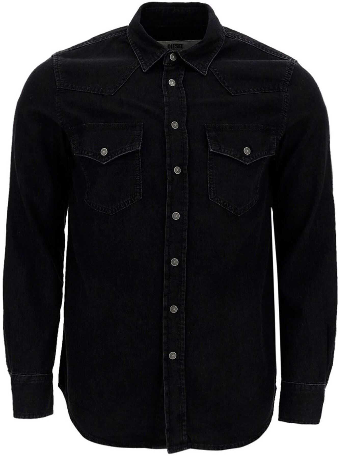 Diesel Denim D-East-P1 Shirt In Black Black imagine