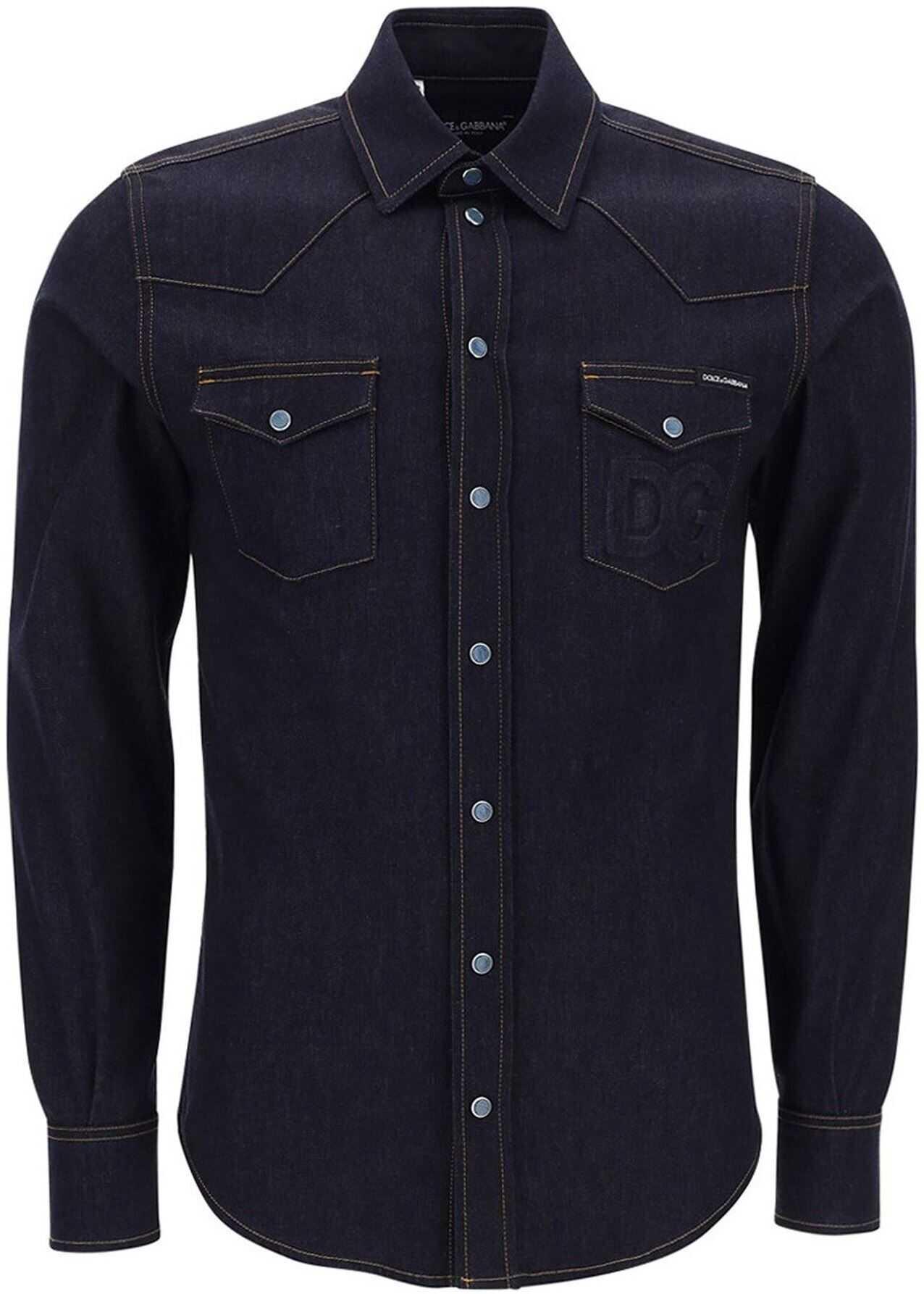 Dolce & Gabbana Stretch Denim Cotton Shirt In Blue Blue imagine