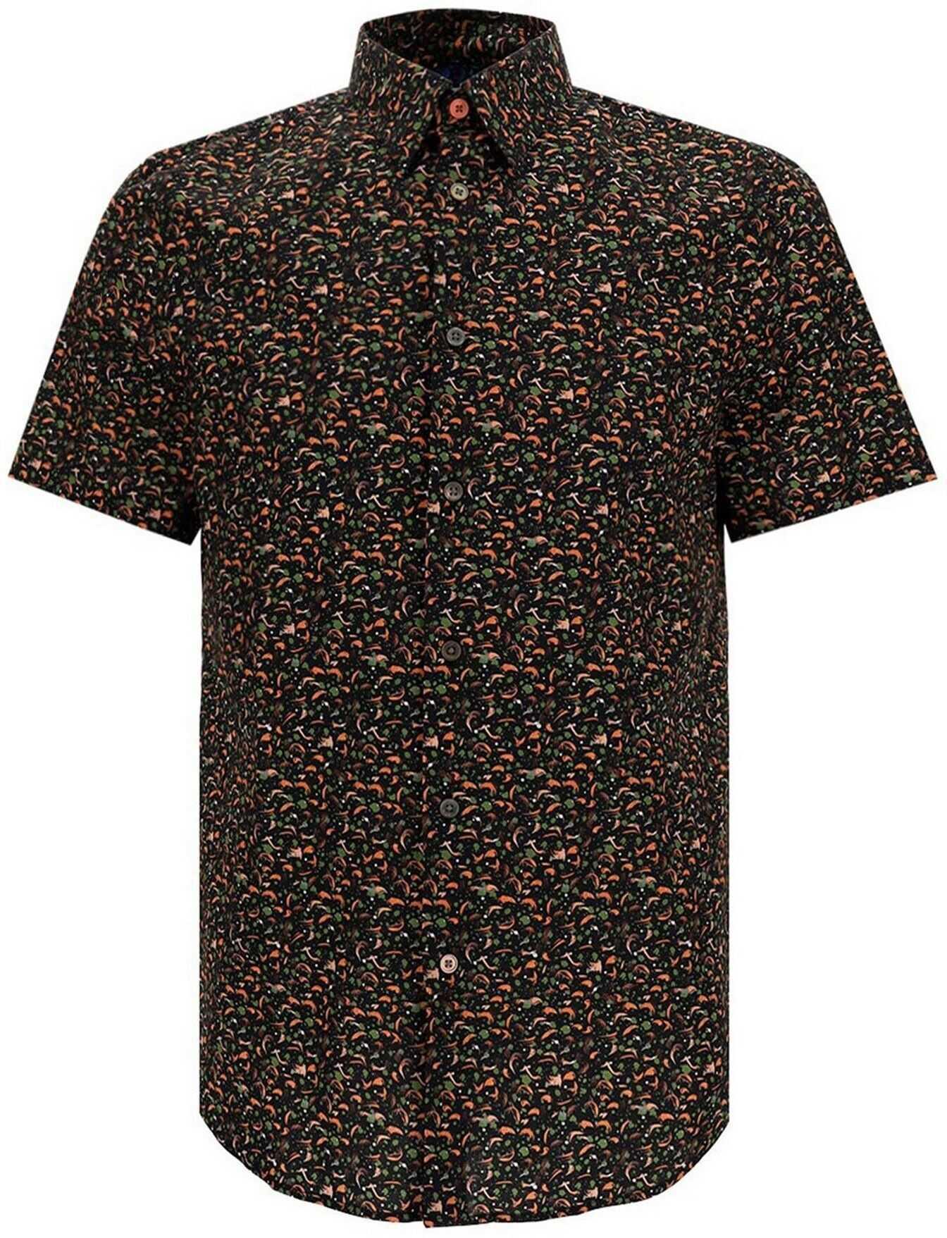 Paul Smith Short Sleeve Printed Shirt In Brown Brown imagine