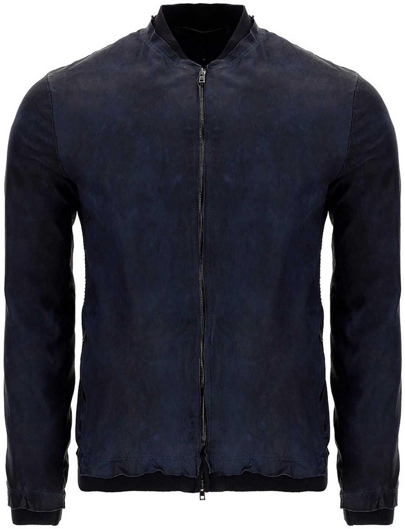 Salvatore Santoro Vintage Effect Leather Bomber Jacket In Blue Blue imagine
