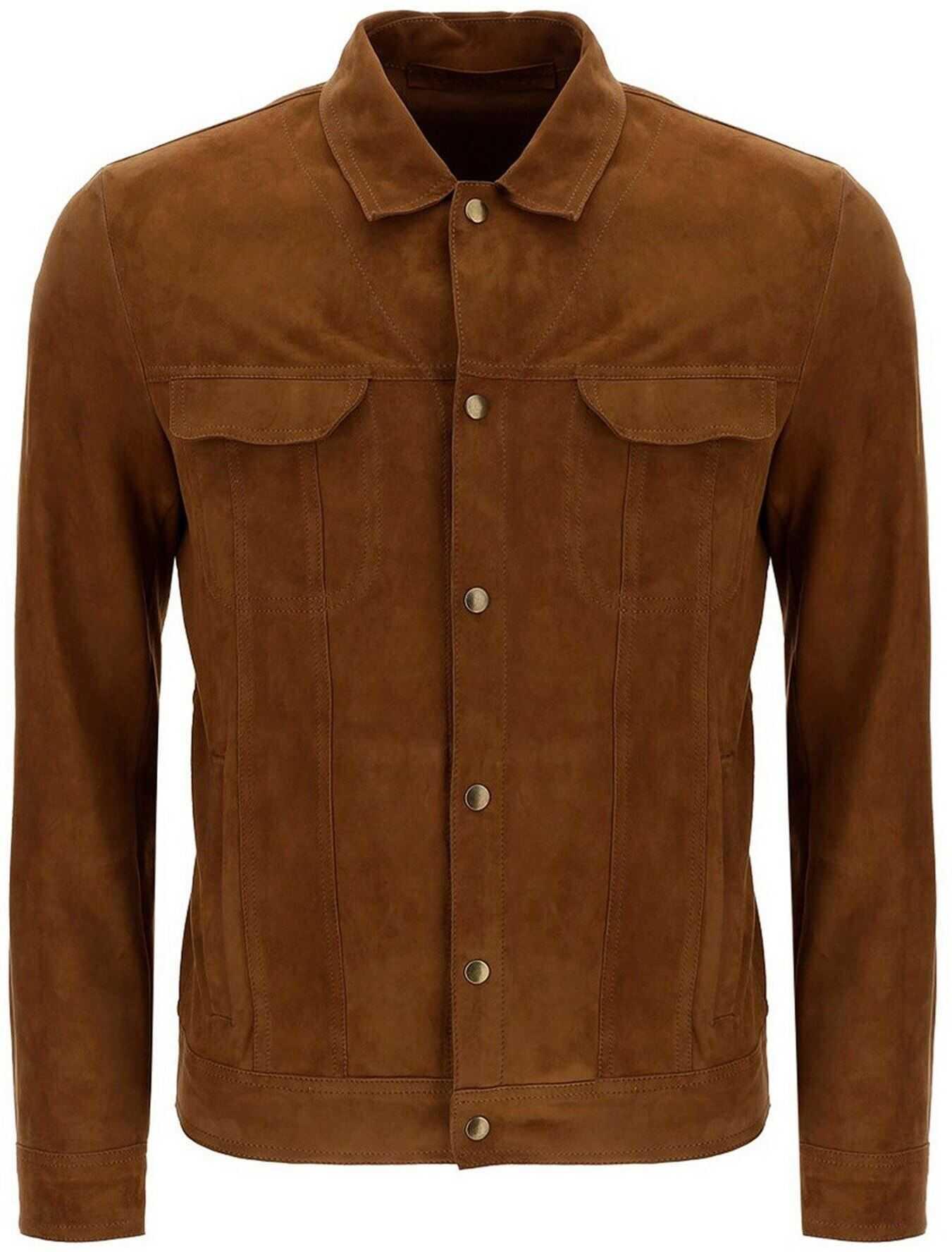 Salvatore Santoro Suede Shirt In Brown Brown imagine