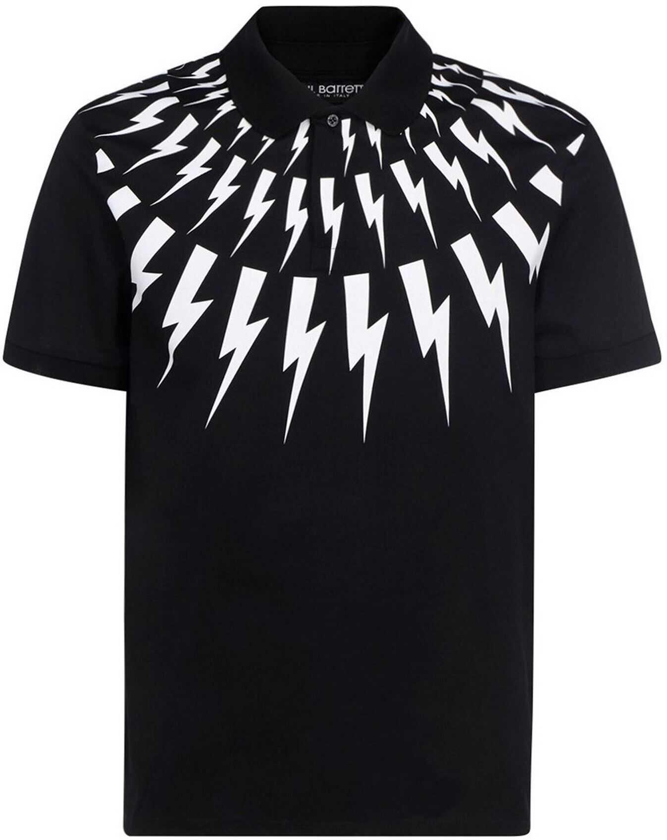 Neil Barrett Cotton Pique Polo Shirt In Black Black imagine
