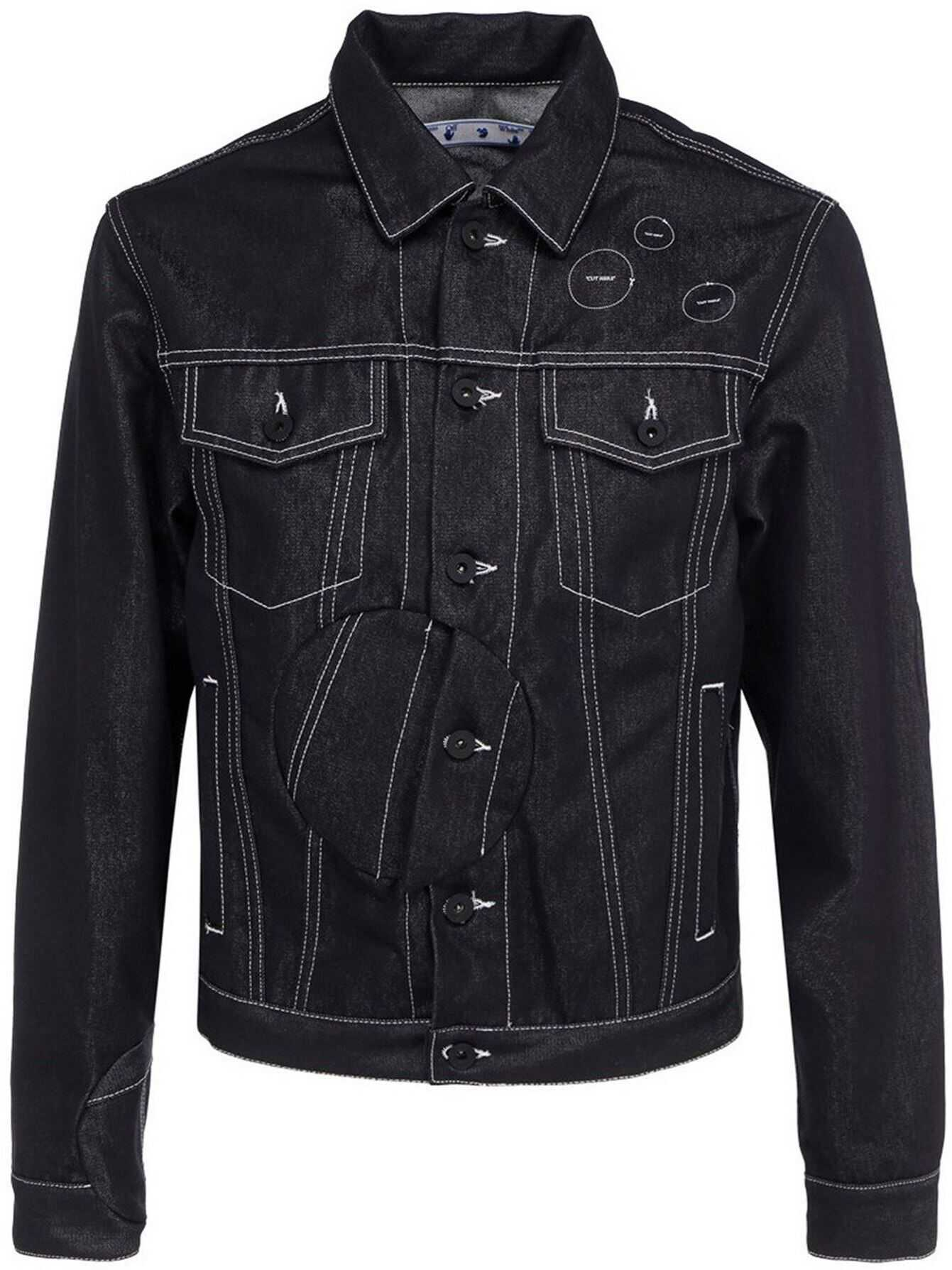 Off-White Arrow Twist Denim Jacket In Black Black imagine