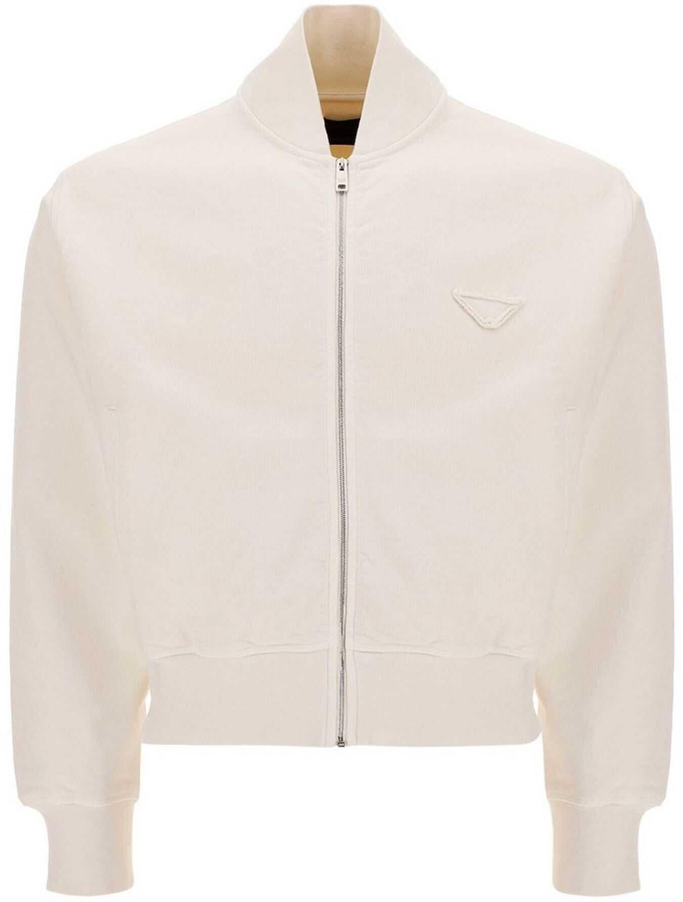 Prada Zipped Jersey Cotton Cardigan In White White imagine