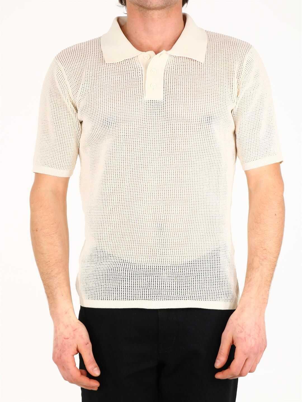 Bottega Veneta Polo Shirt Cream White imagine