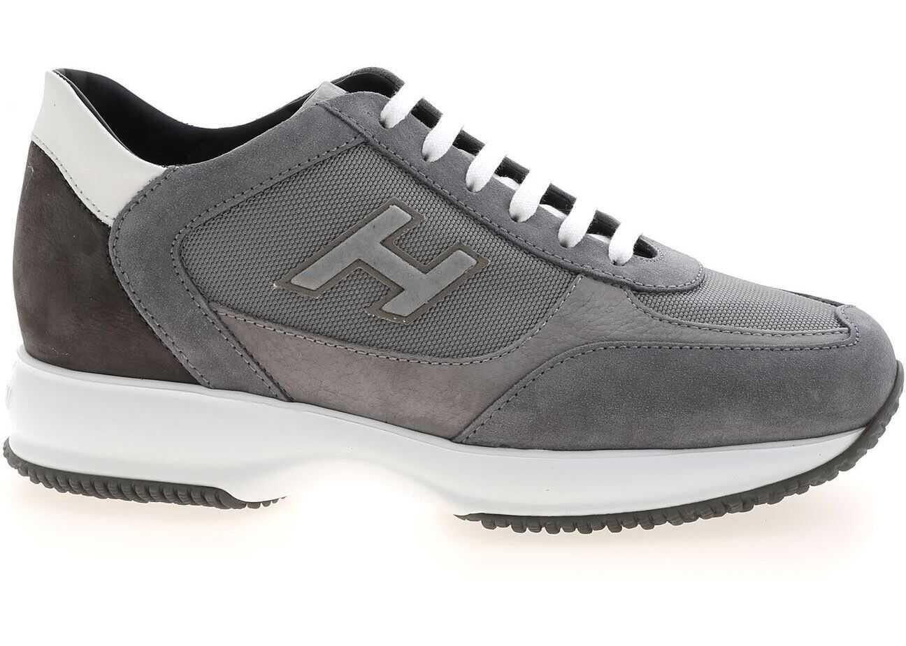 Hogan Interactive Sneakers In Grey HXM00N0Q101PDU647L Grey imagine b-mall.ro