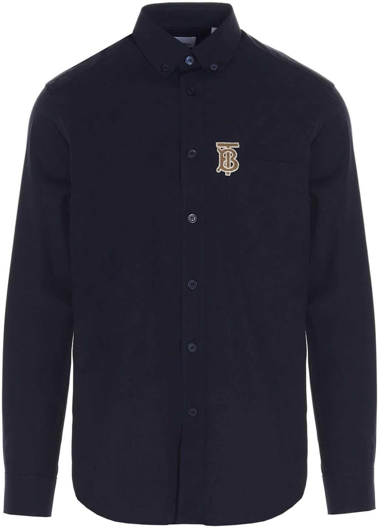Burberry Contrasting Monogram Shirt In Navy Blue Blue imagine