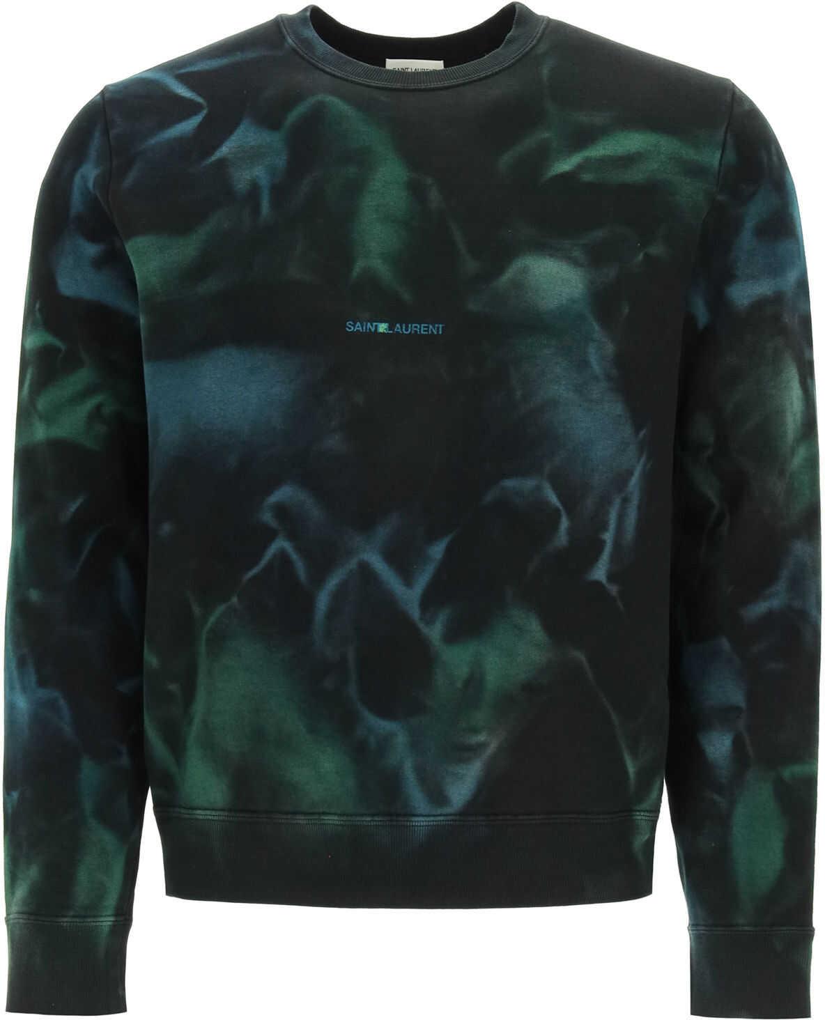 Saint Laurent Tie-Dye Sweatshirt With Logo Print BLACK GREEN imagine