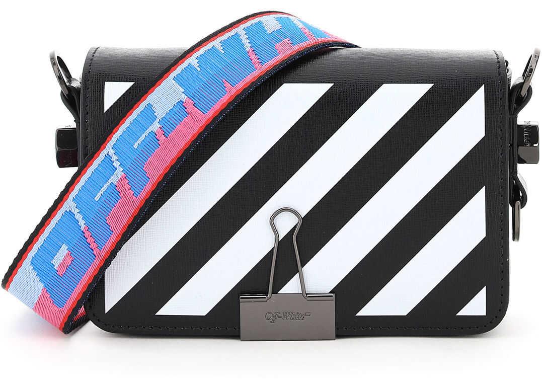 Off-White Mini Diag Flap Binder Clip Shoulder Bag OWNA038R21LEA001 BLACK WHITE imagine b-mall.ro