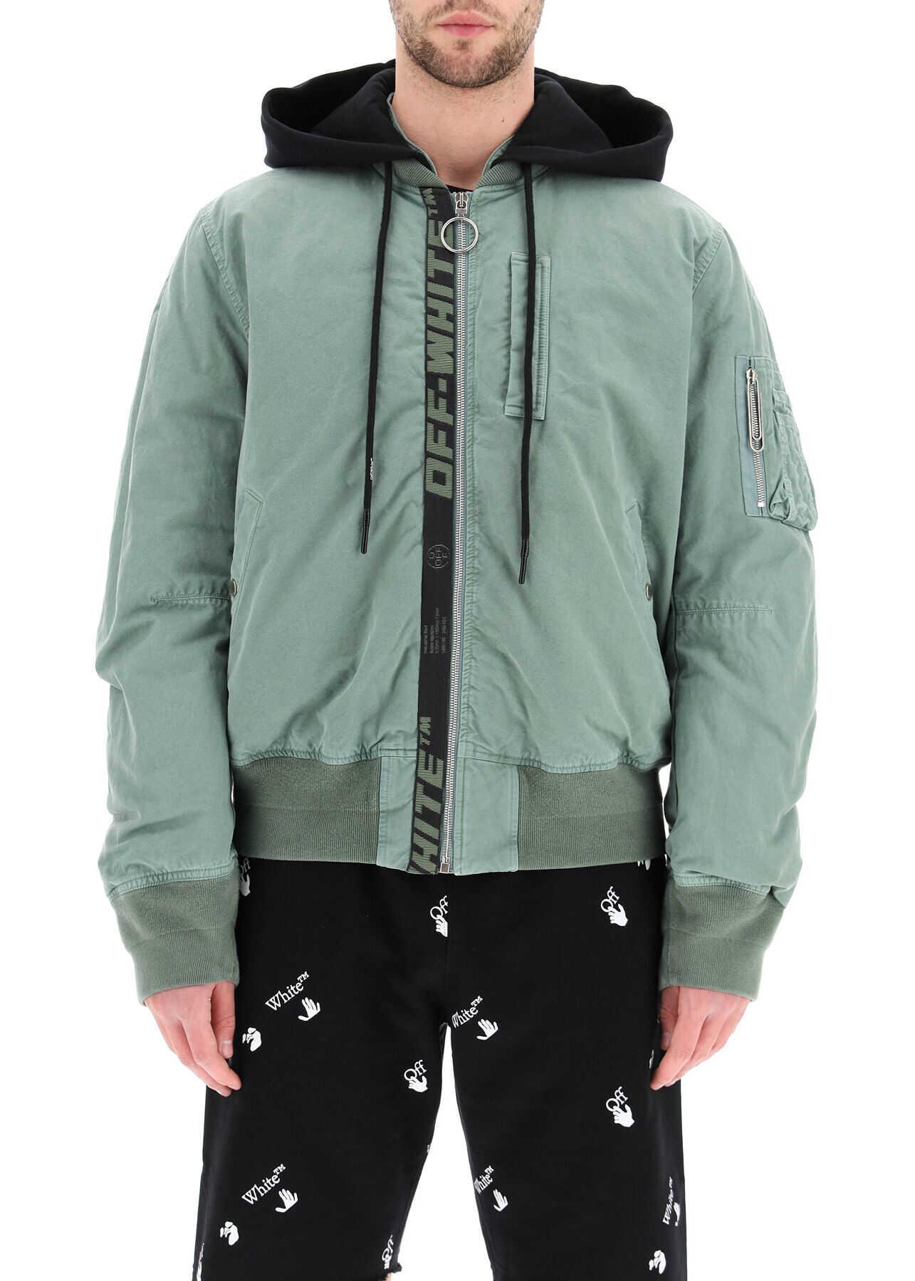 Off-White Vintage Bomber Jacket With Logo Band GREEN BLACK imagine