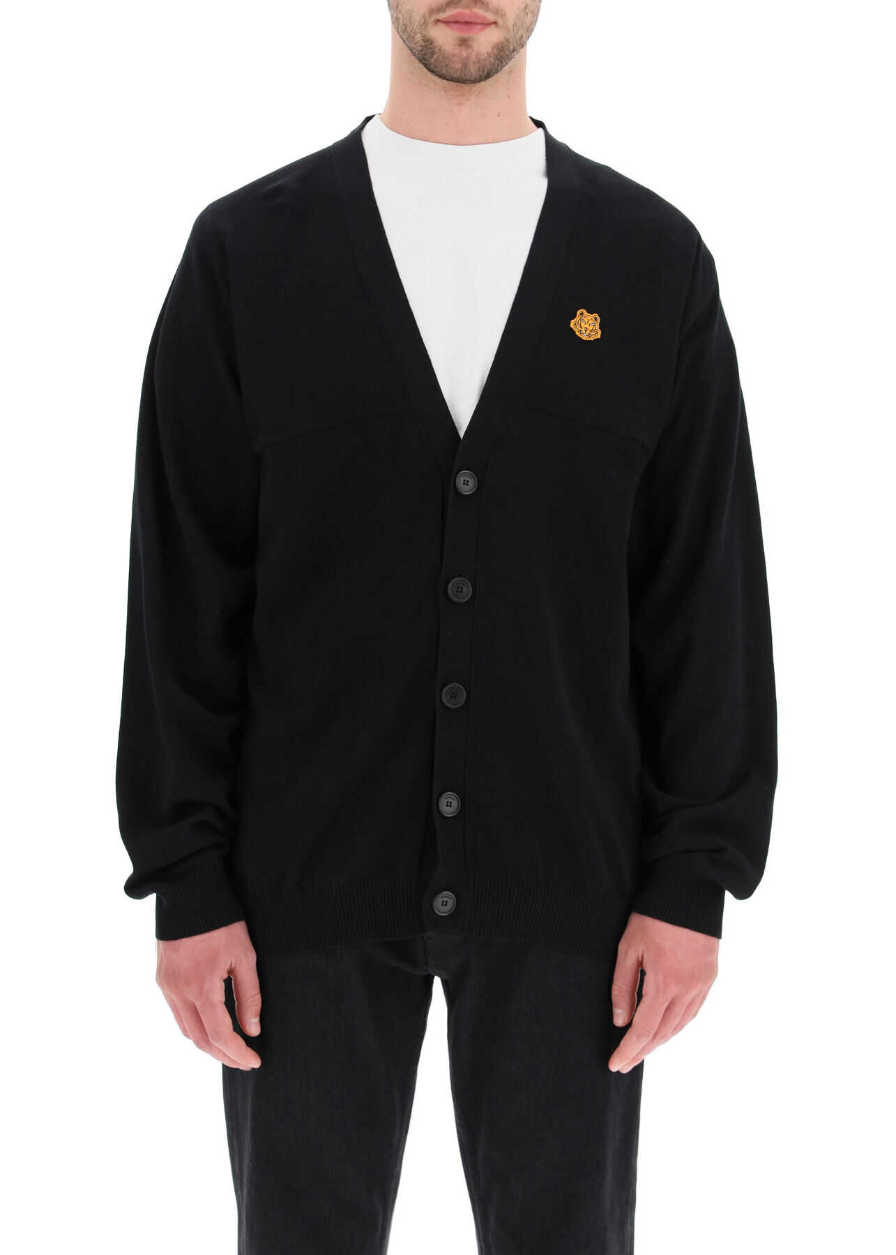 Kenzo Oversized Cardigan With Tiger Crest Patch BLACK imagine
