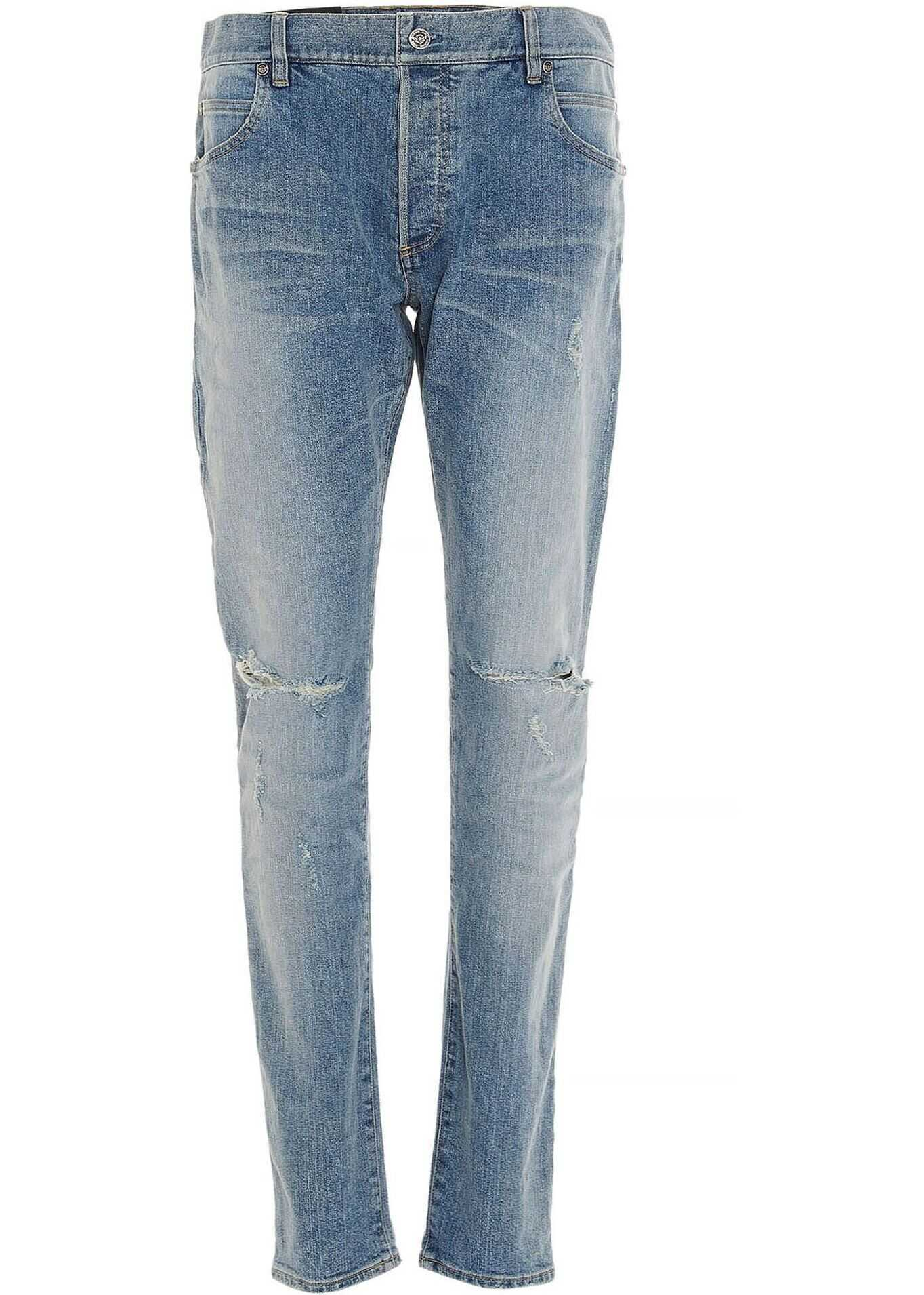 Balmain Ripped Jeans In Light Blue Blue imagine